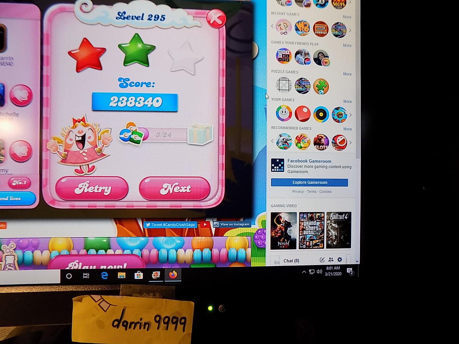 darrin9999: Candy Crush Saga: Level 295 (Web) 238,340 points on 2020-05-10 07:04:45