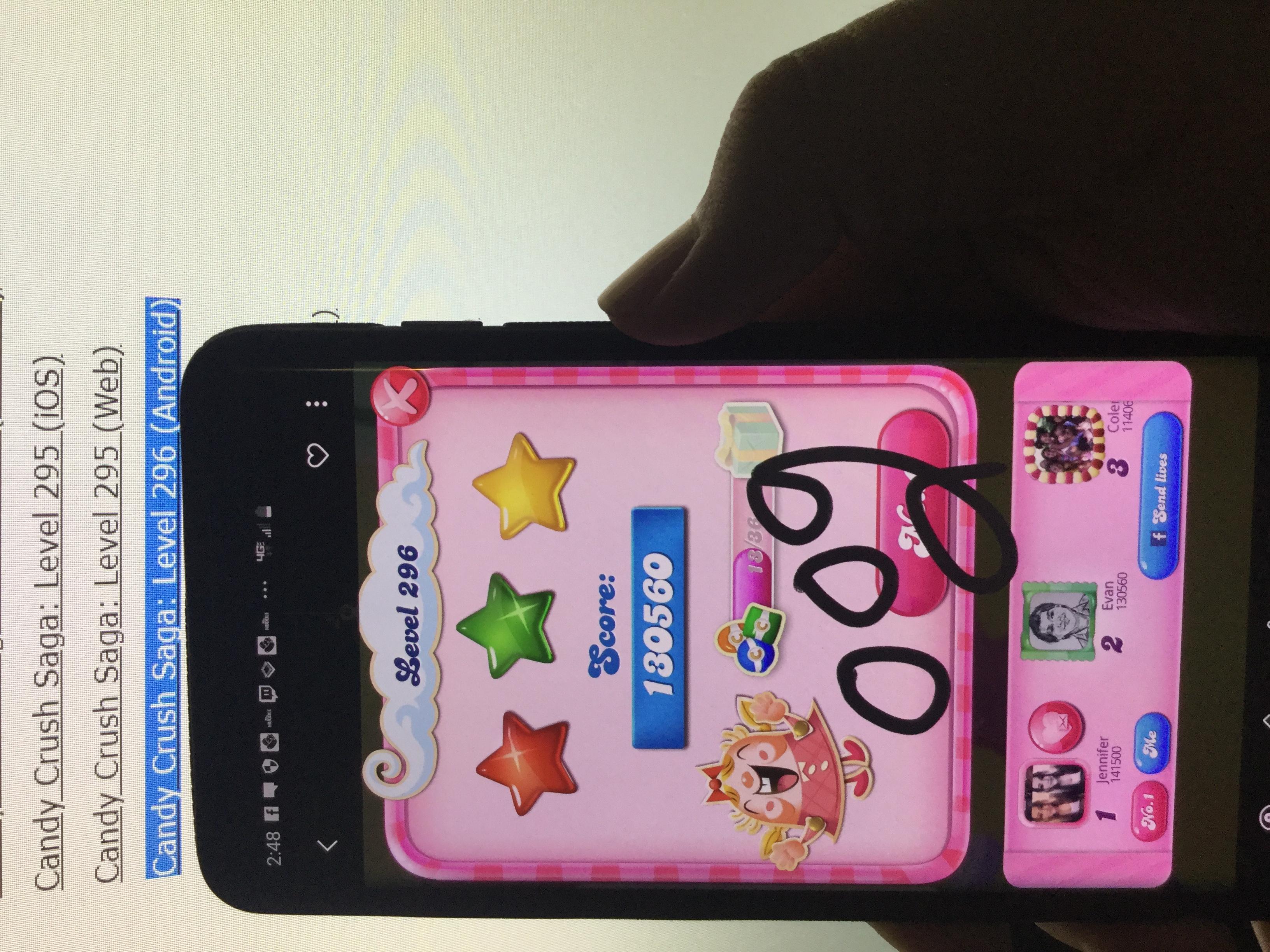Candy Crush Saga: Level 296 130,560 points