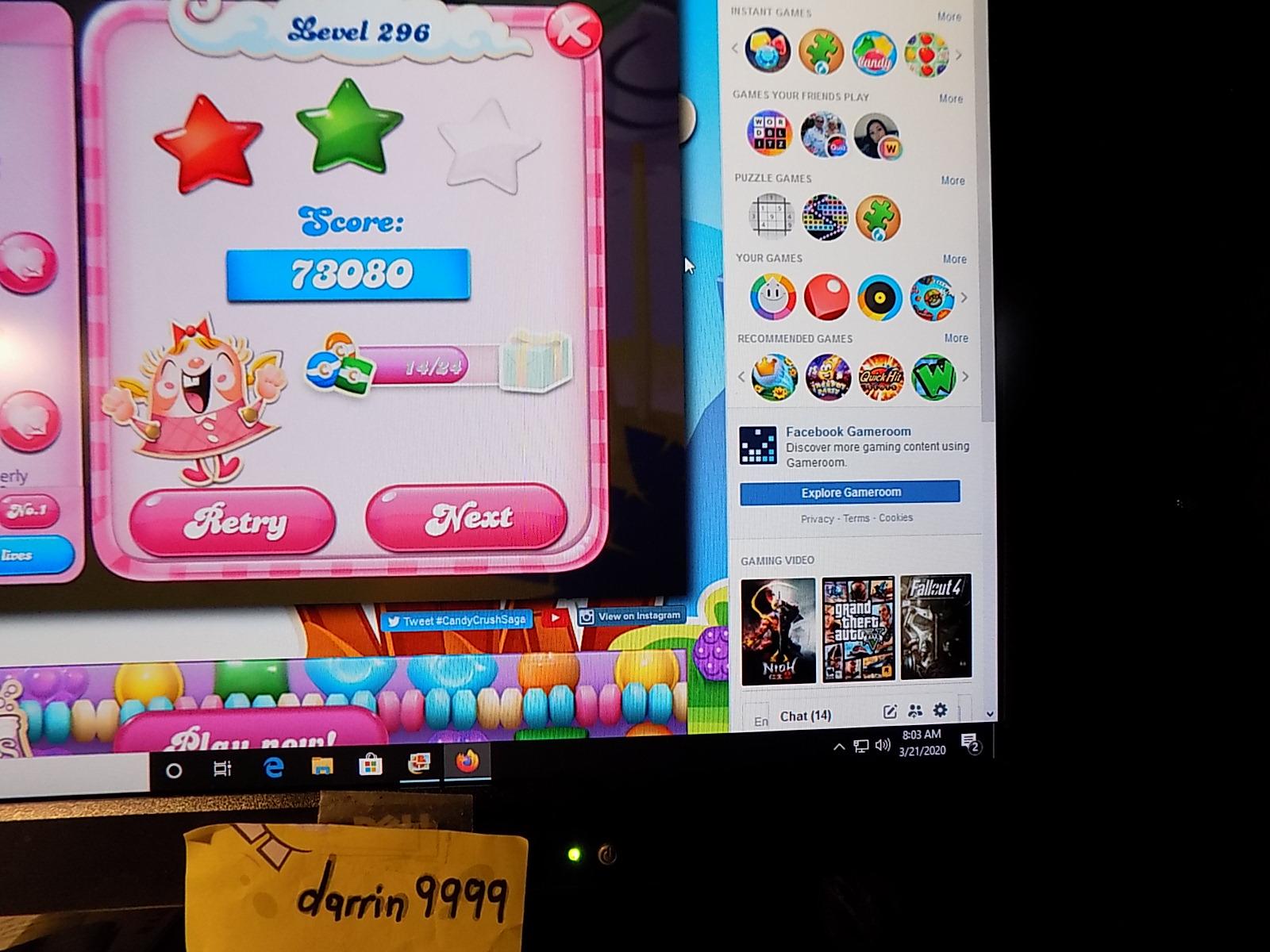 darrin9999: Candy Crush Saga: Level 296 (Web) 73,080 points on 2020-05-10 07:05:51