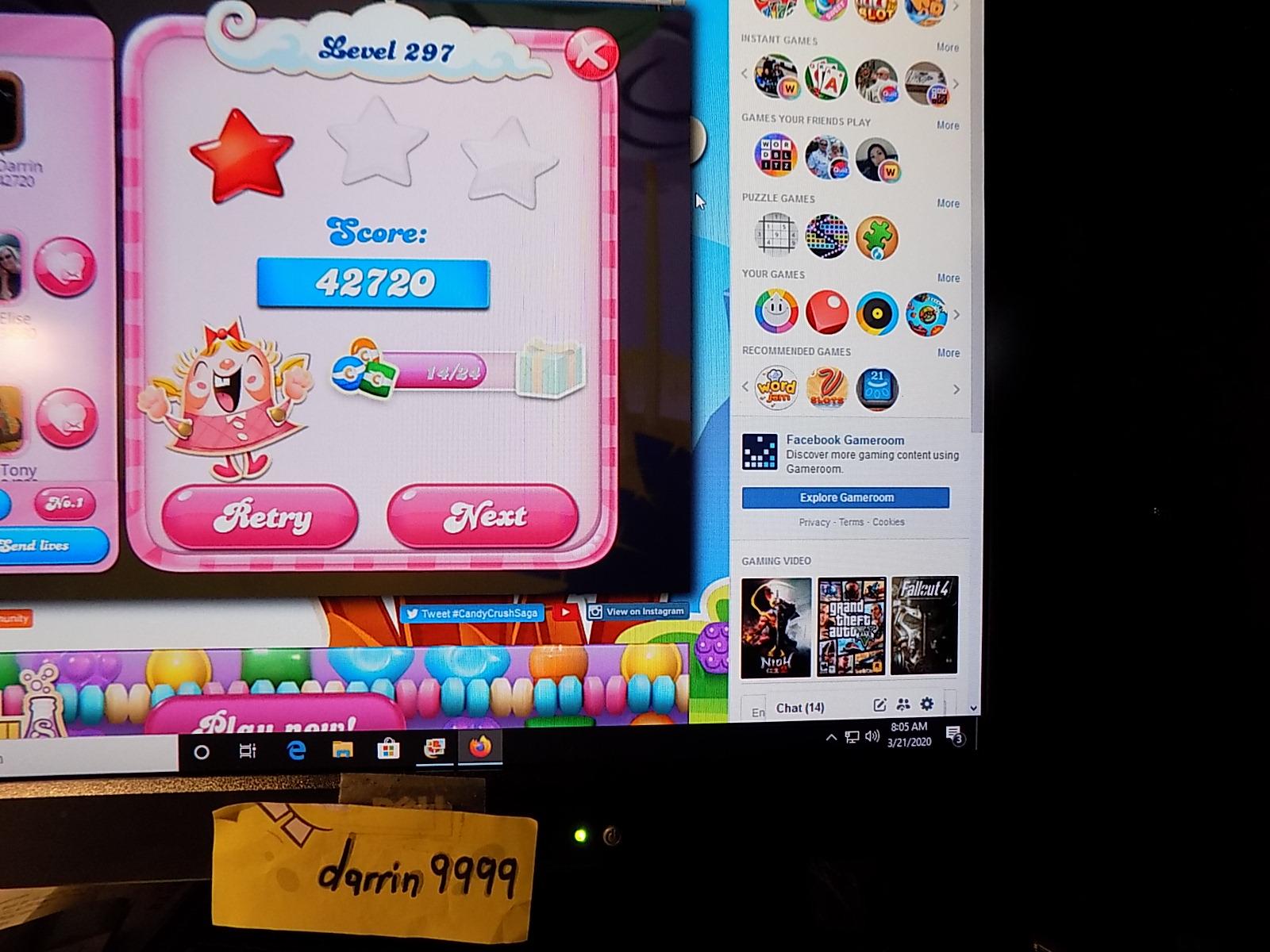 darrin9999: Candy Crush Saga: Level 297 (Web) 42,720 points on 2020-05-10 07:07:27