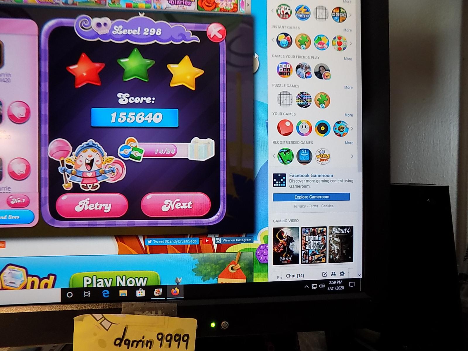 darrin9999: Candy Crush Saga: Level 298 (Web) 155,640 points on 2020-05-10 07:08:27
