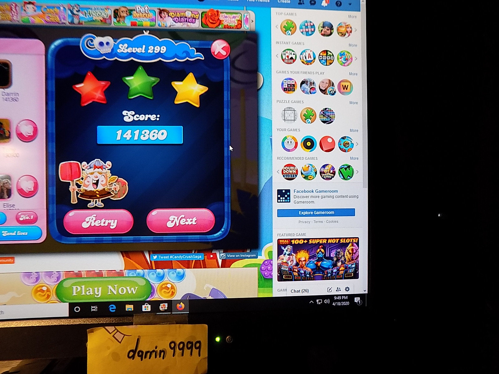 darrin9999: Candy Crush Saga: Level 299 (Web) 141,360 points on 2020-05-10 07:09:56