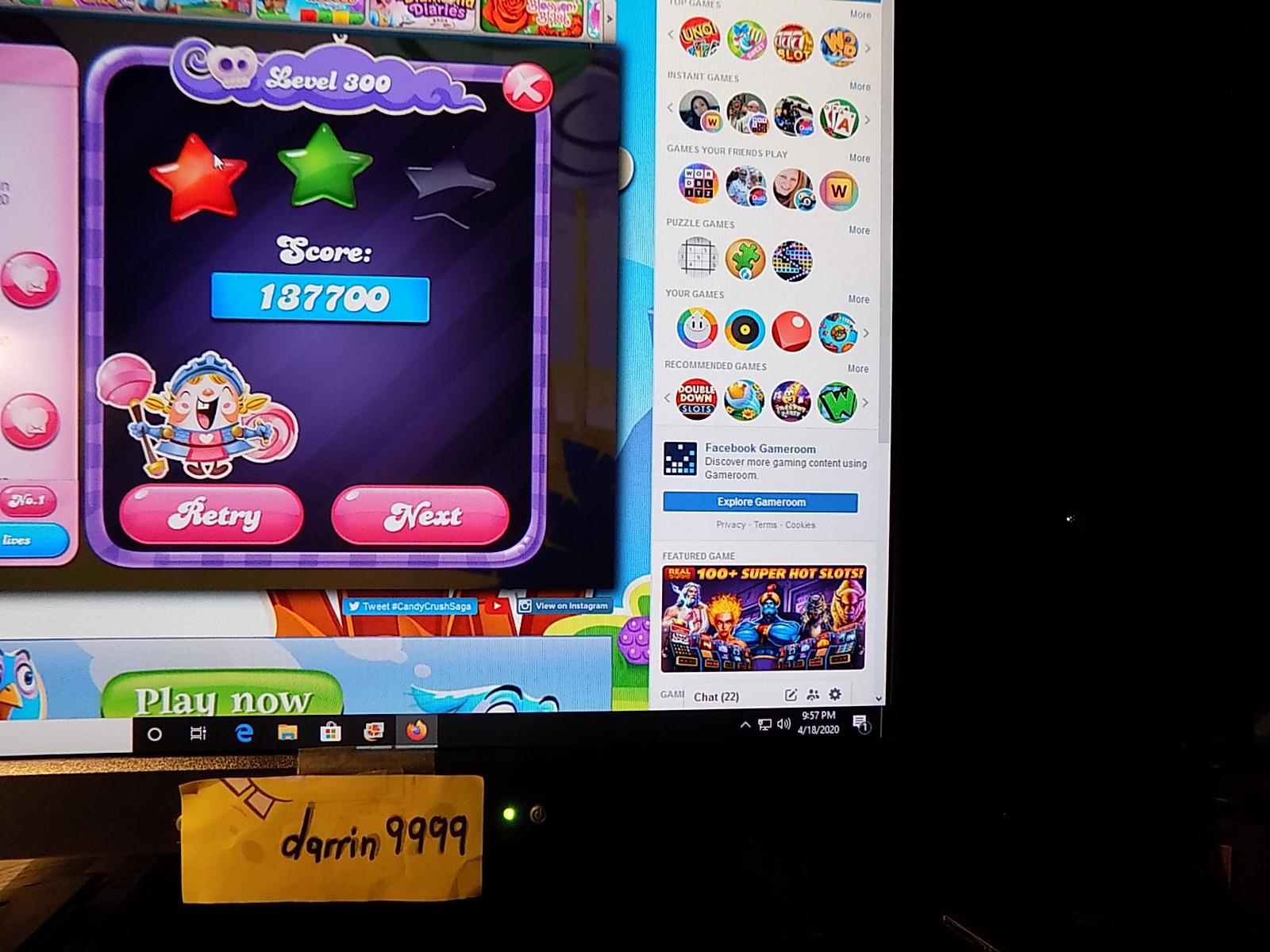 darrin9999: Candy Crush Saga: Level 300 (Web) 137,700 points on 2020-05-10 07:11:06