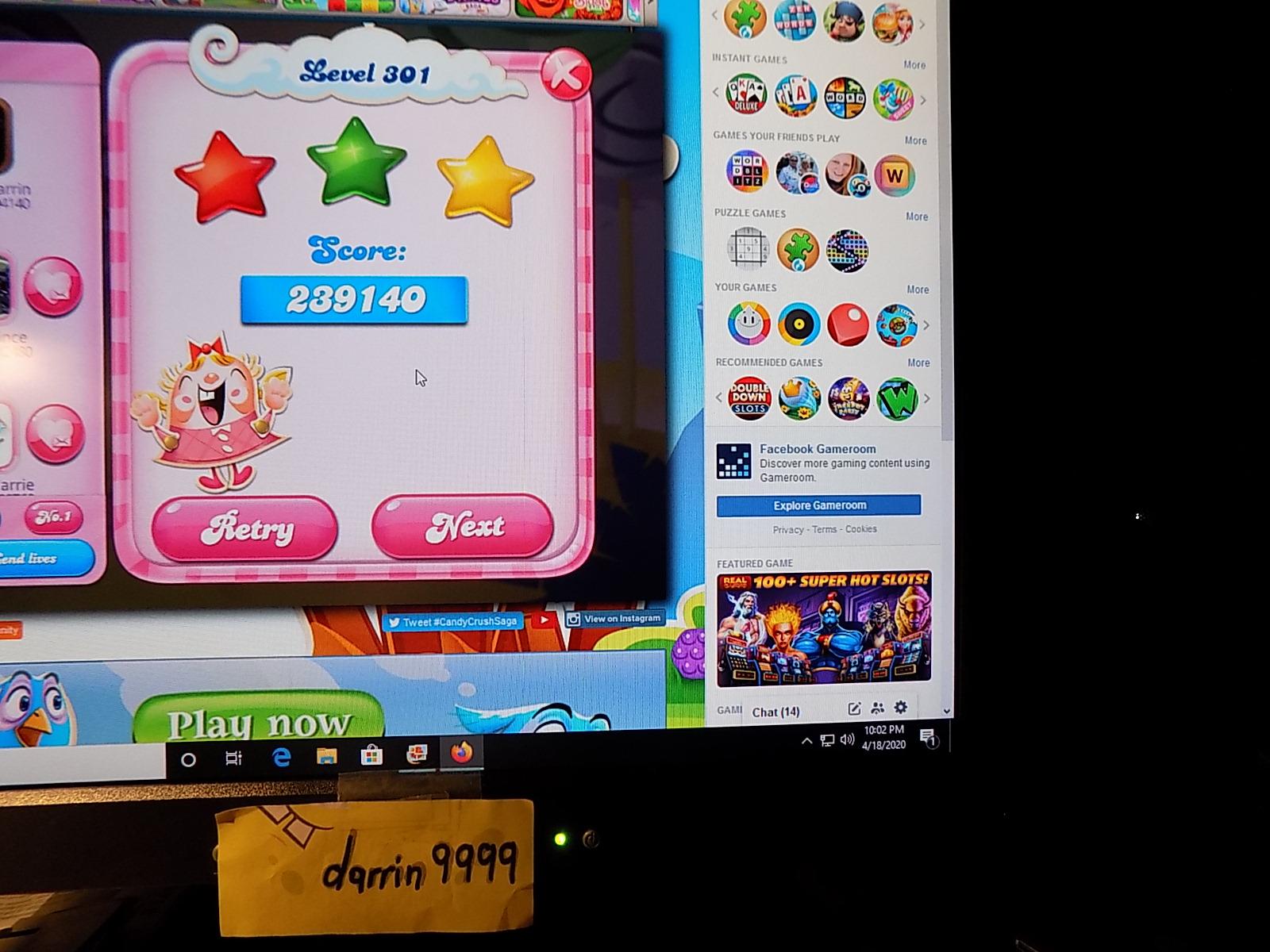darrin9999: Candy Crush Saga: Level 301 (Web) 239,140 points on 2020-06-23 15:02:45