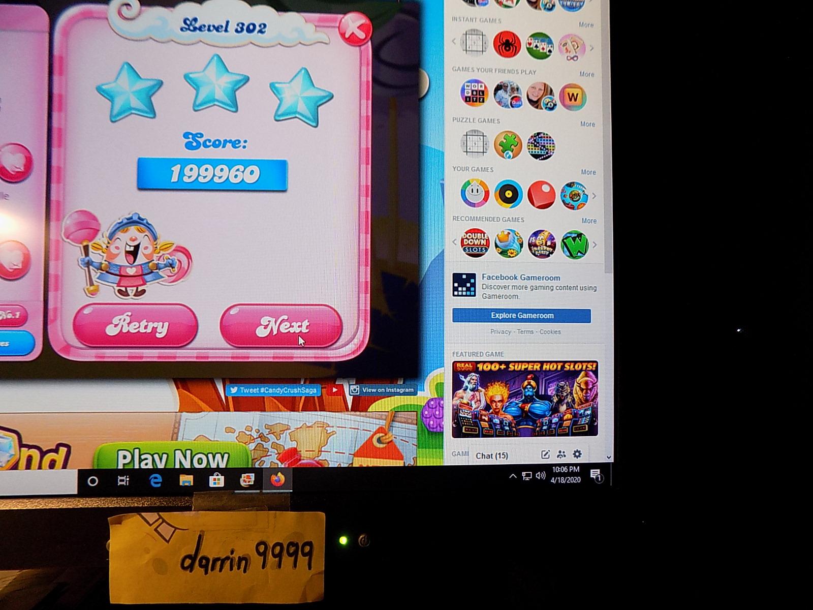 darrin9999: Candy Crush Saga: Level 302 (Web) 199,960 points on 2020-06-23 15:03:58