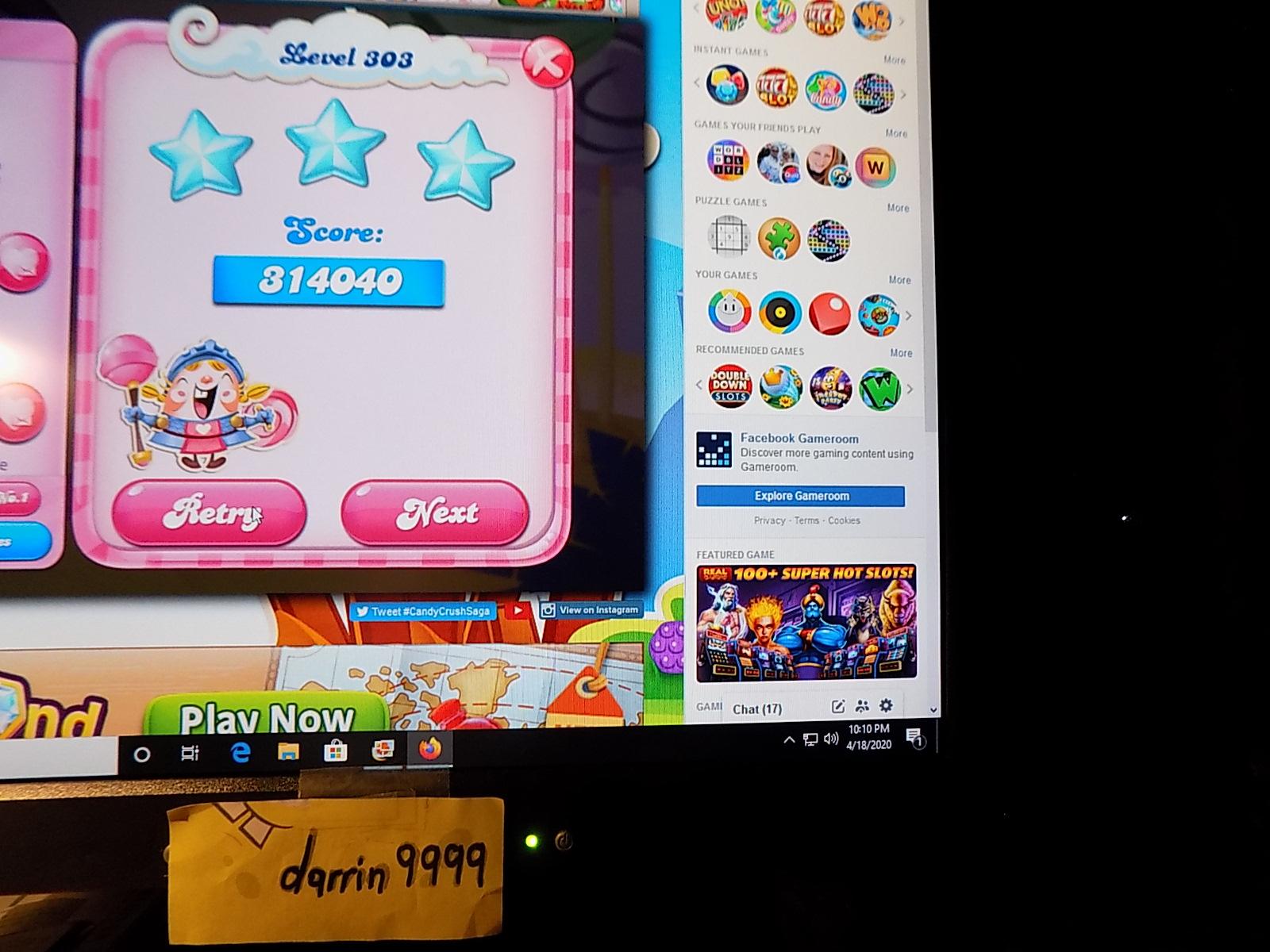 darrin9999: Candy Crush Saga: Level 303 (Web) 314,040 points on 2020-06-23 15:05:08