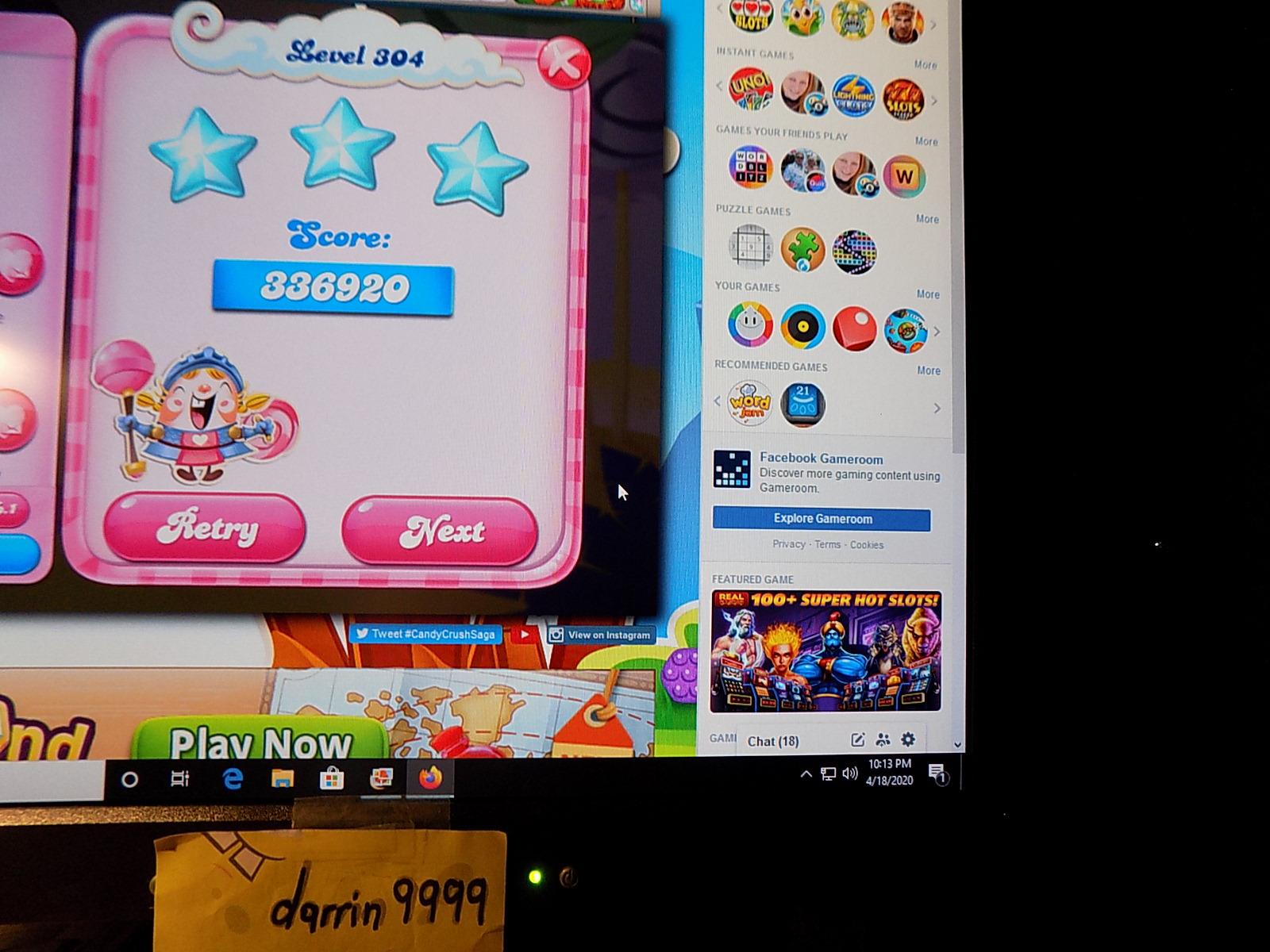 darrin9999: Candy Crush Saga: Level 304 (Web) 336,920 points on 2020-06-23 15:06:10