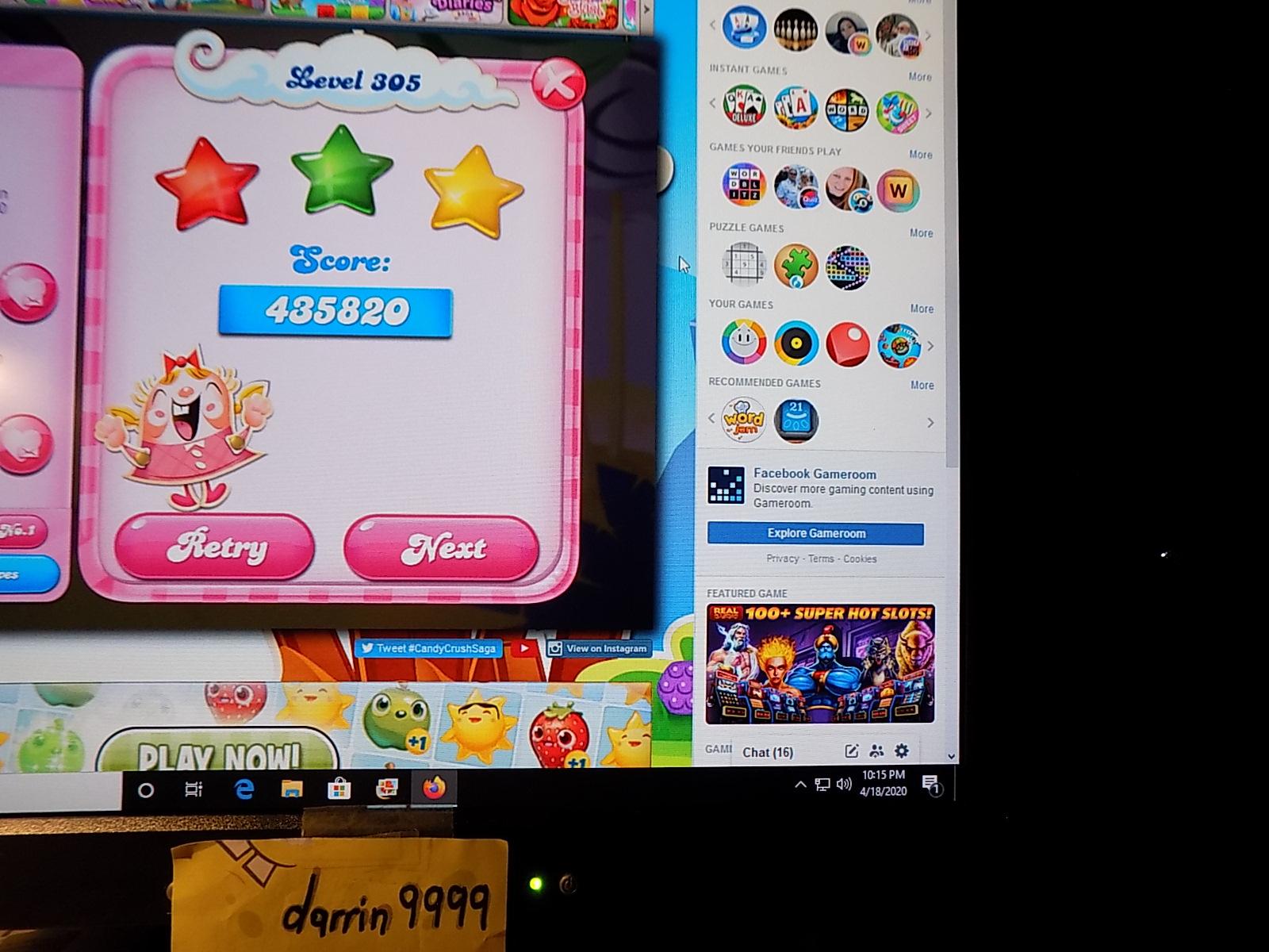 darrin9999: Candy Crush Saga: Level 305 (Web) 435,820 points on 2020-06-23 15:07:33