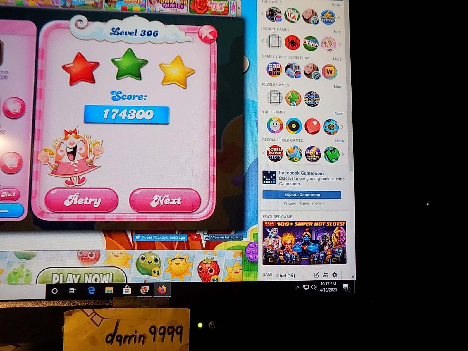 darrin9999: Candy Crush Saga: Level 306 (Web) 174,300 points on 2020-06-23 15:09:16