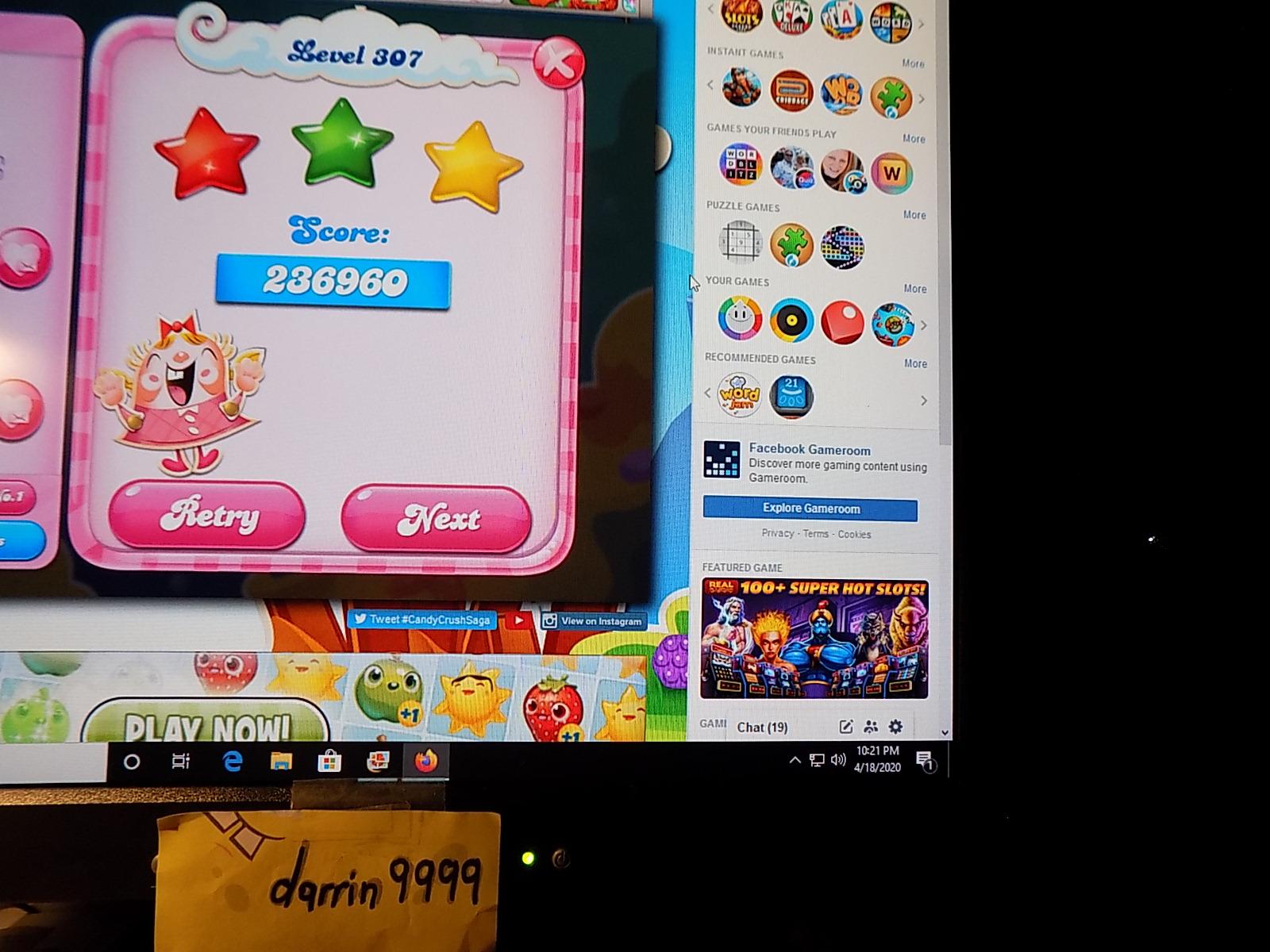 darrin9999: Candy Crush Saga: Level 307 (Web) 236,960 points on 2020-06-23 15:10:32