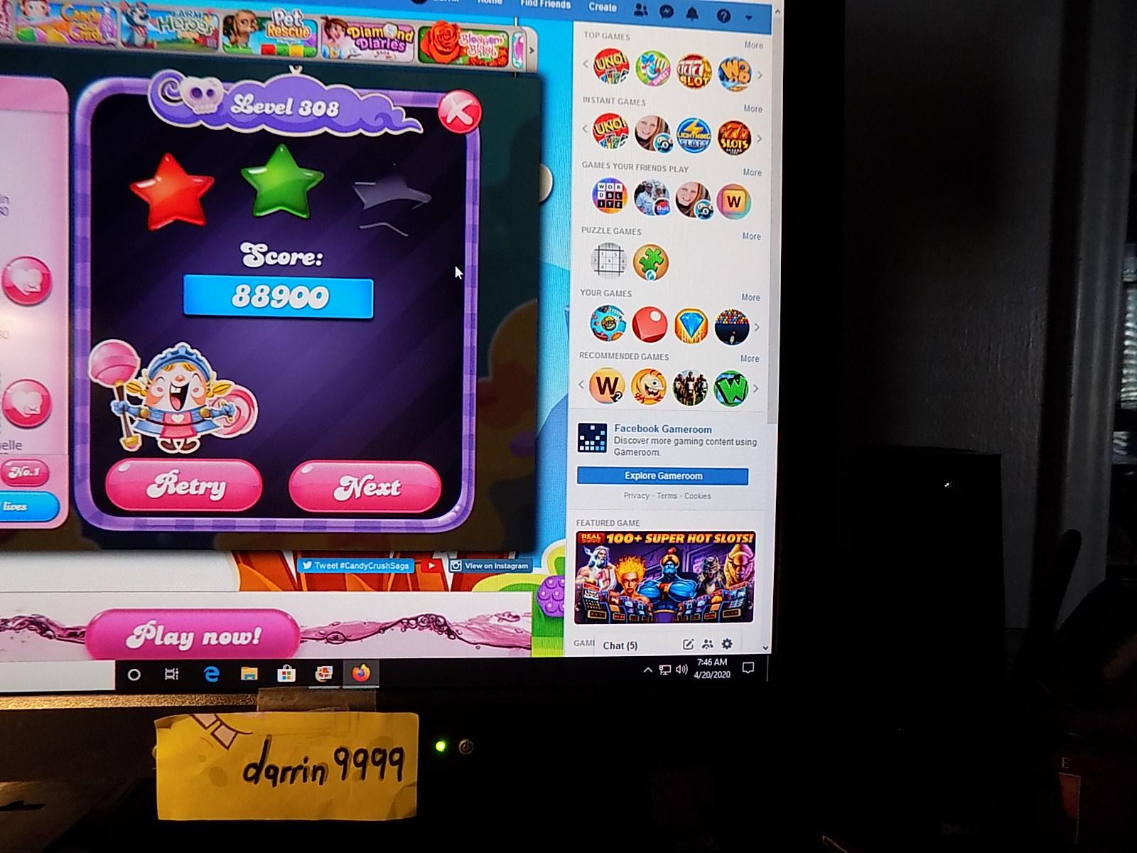 darrin9999: Candy Crush Saga: Level 308 (Web) 88,900 points on 2020-06-23 15:12:00