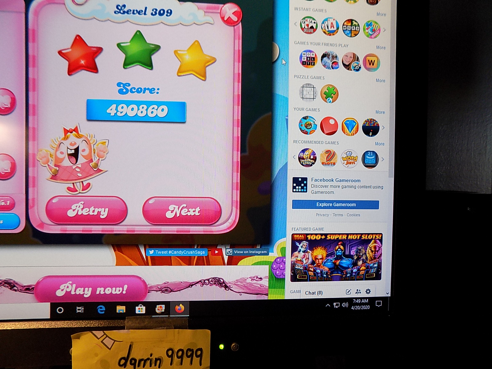 Candy Crush Saga: Level 309 490,860 points