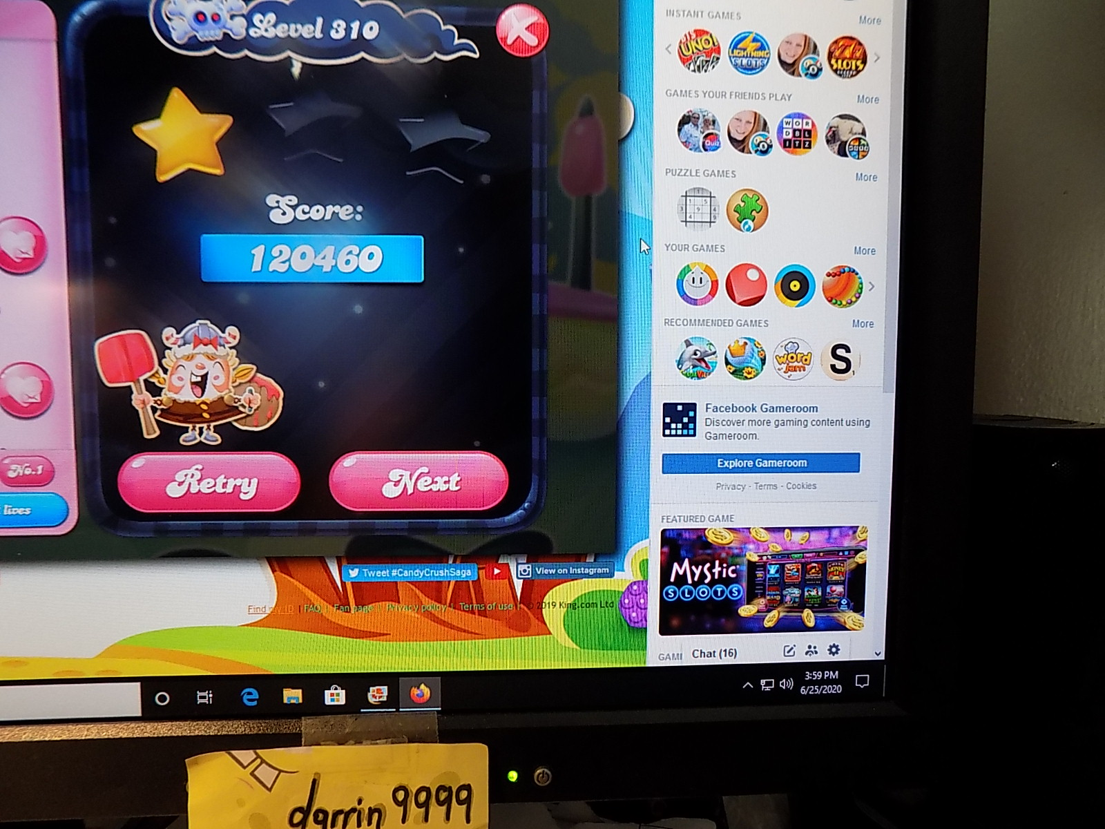 darrin9999: Candy Crush Saga: Level 310 (Web) 120,460 points on 2020-08-02 16:18:42