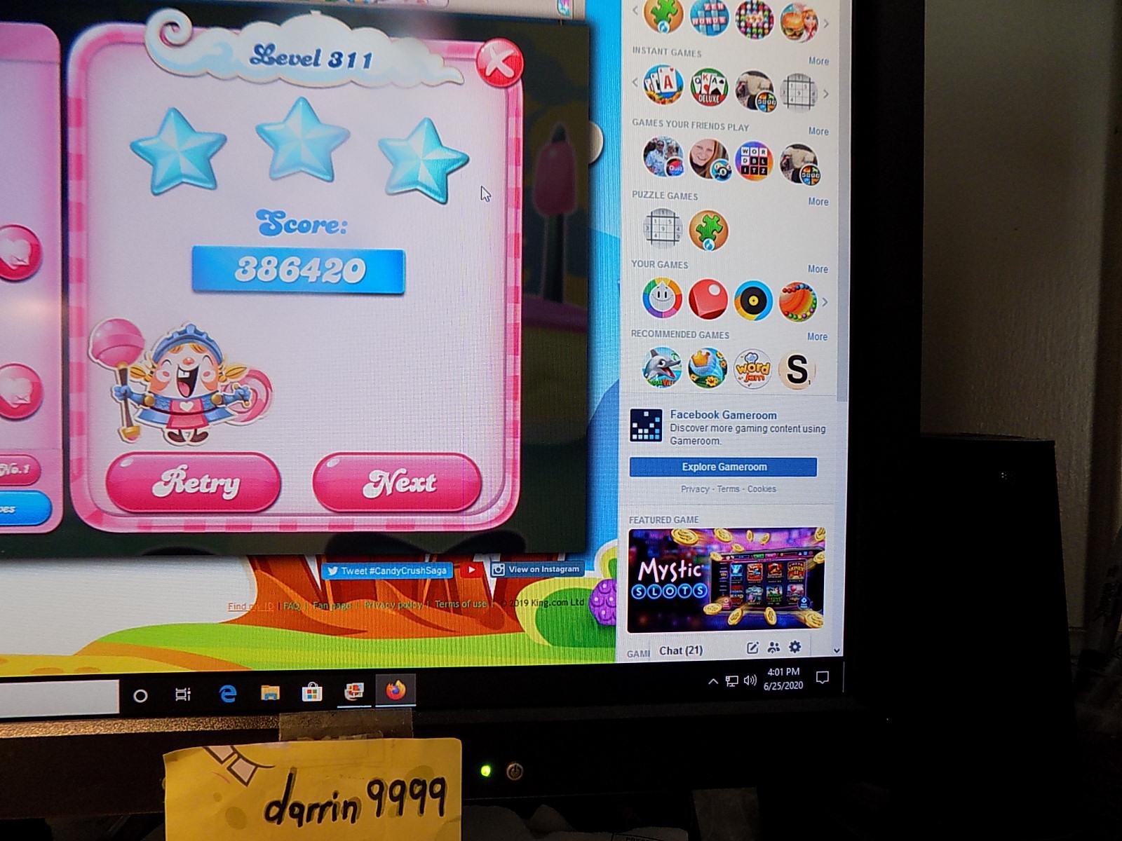 darrin9999: Candy Crush Saga: Level 311 (Web) 386,420 points on 2020-08-02 16:19:45