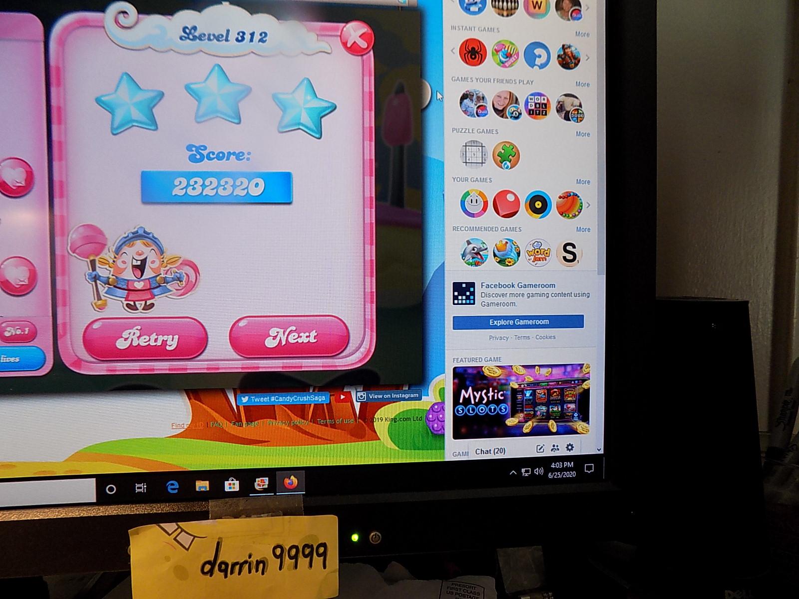 darrin9999: Candy Crush Saga: Level 312 (Web) 232,320 points on 2020-08-02 16:20:50