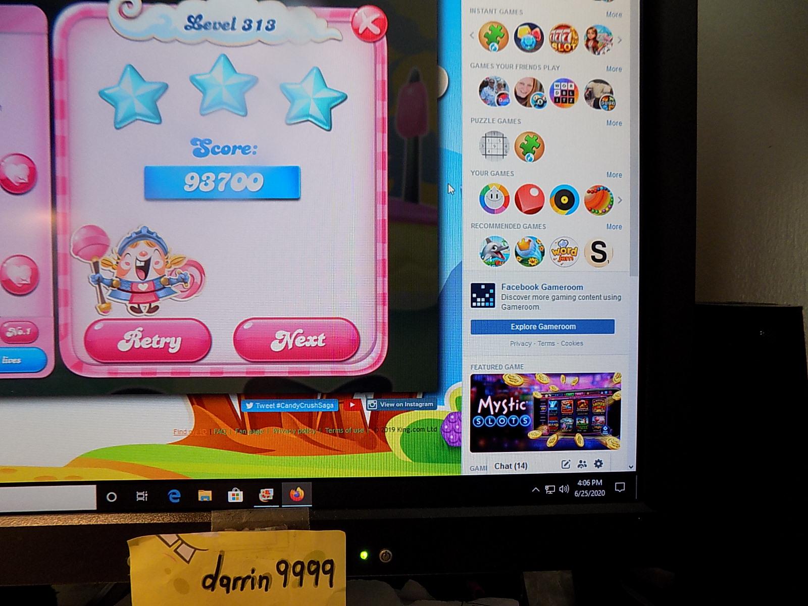 darrin9999: Candy Crush Saga: Level 313 (Web) 93,700 points on 2020-08-02 16:21:44