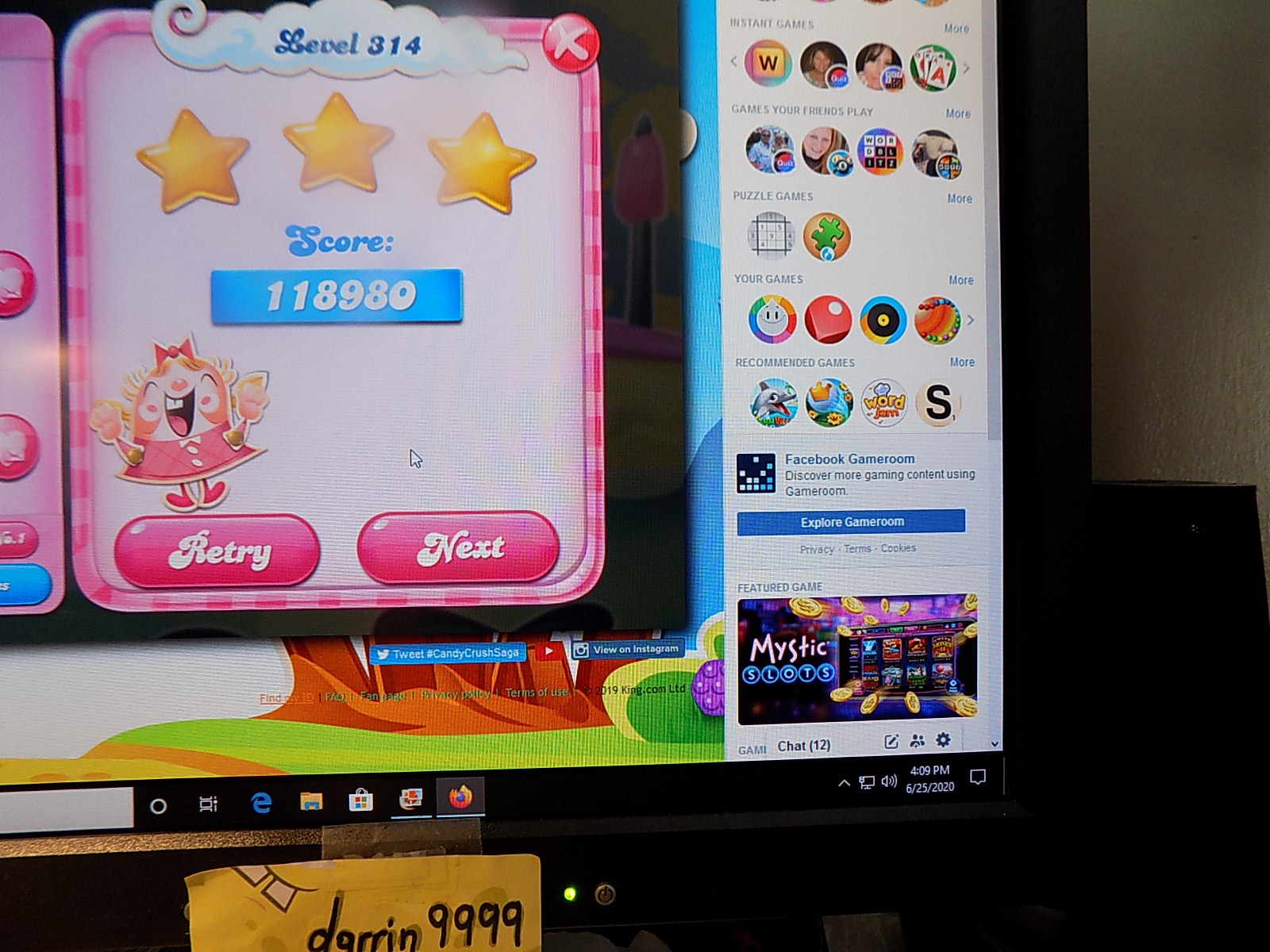 darrin9999: Candy Crush Saga: Level 314 (Web) 118,980 points on 2020-08-02 16:22:42
