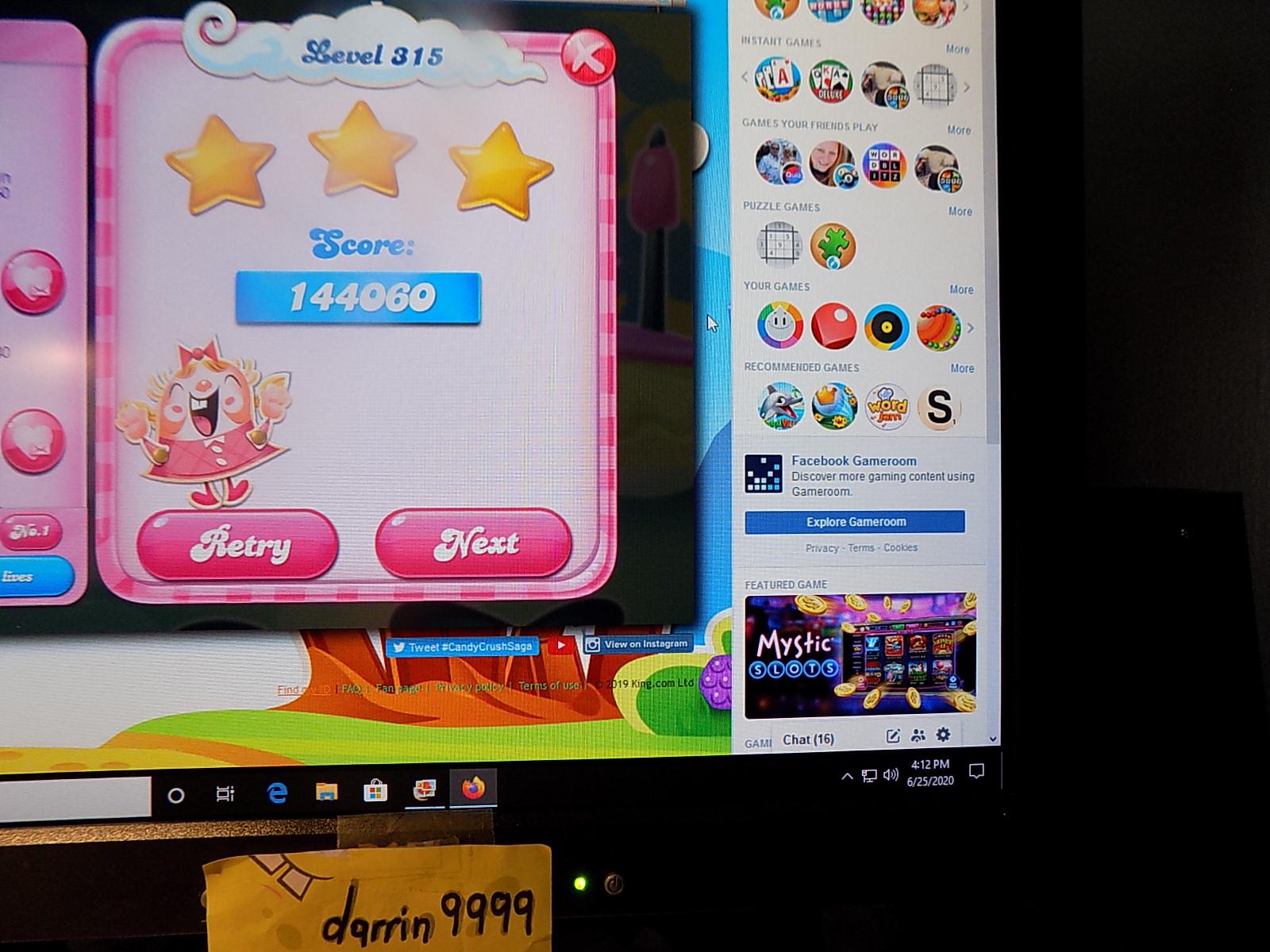 darrin9999: Candy Crush Saga: Level 315 (Web) 144,060 points on 2020-08-02 16:23:42
