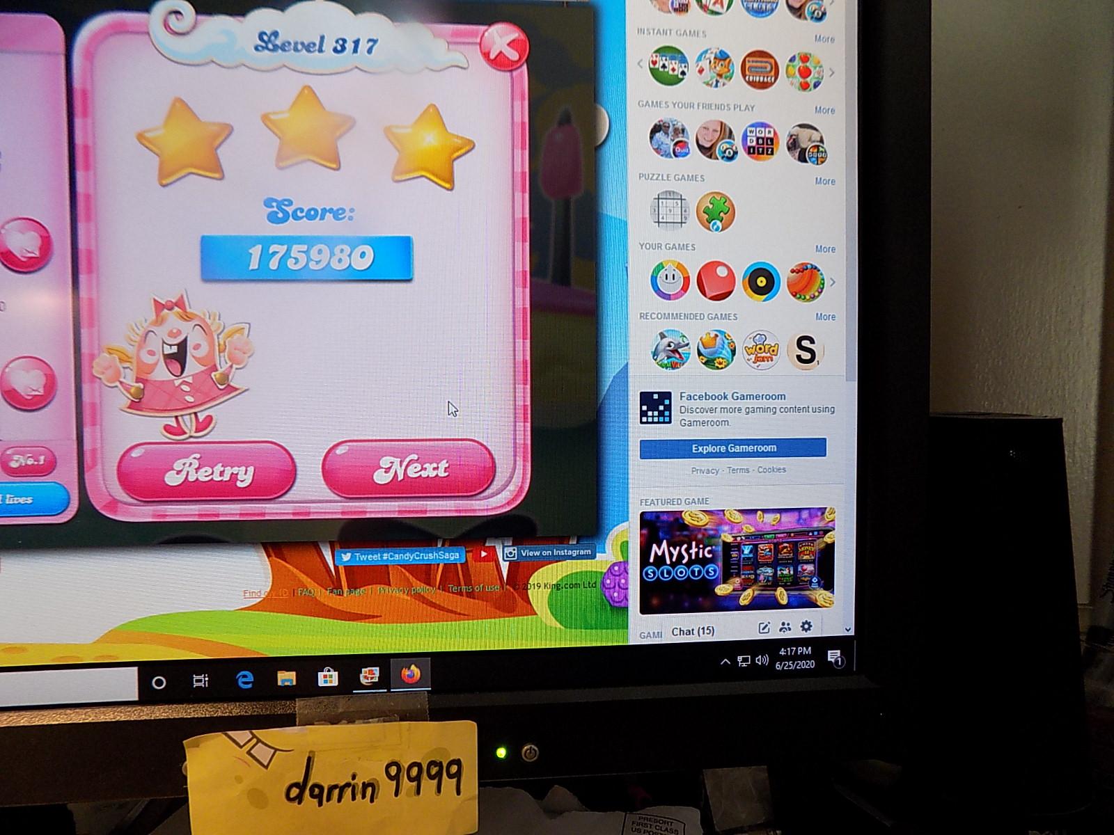 darrin9999: Candy Crush Saga: Level 317 (Web) 175,980 points on 2020-08-02 16:25:33