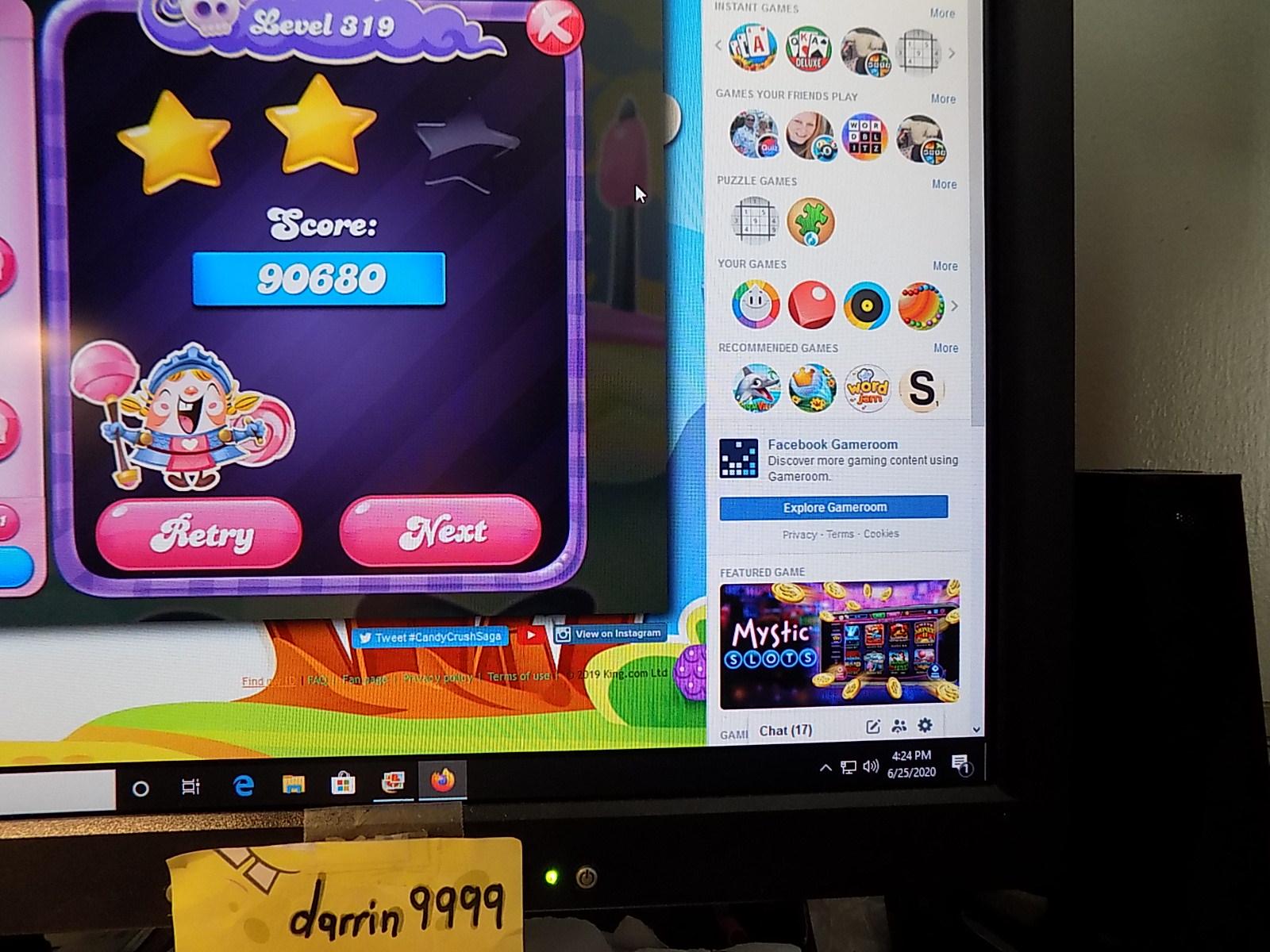 darrin9999: Candy Crush Saga: Level 319 (Web) 90,680 points on 2020-08-02 16:27:49
