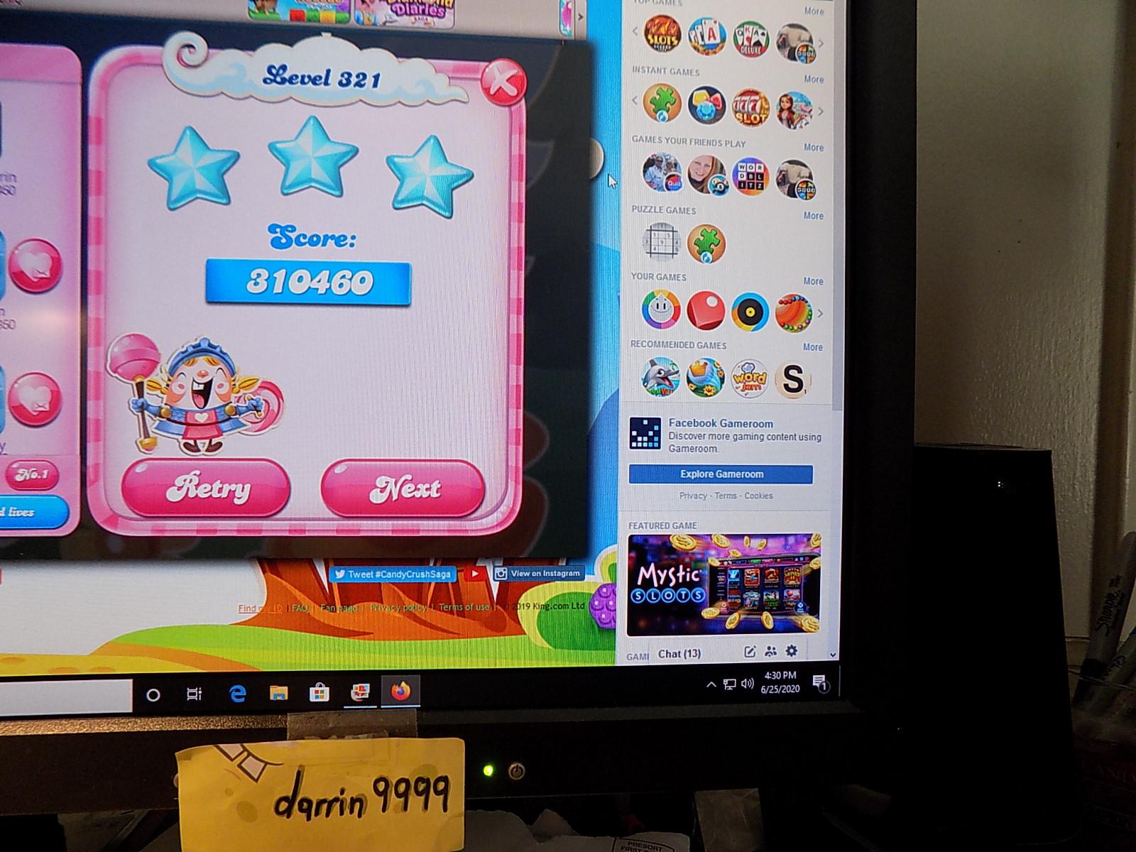 darrin9999: Candy Crush Saga: Level 321 (Web) 310,460 points on 2020-08-02 16:29:40
