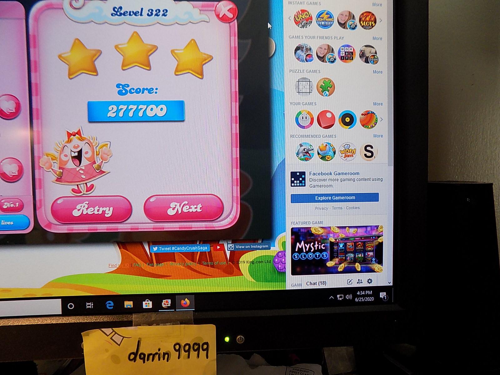 darrin9999: Candy Crush Saga: Level 322 (Web) 277,700 points on 2020-08-02 16:30:36
