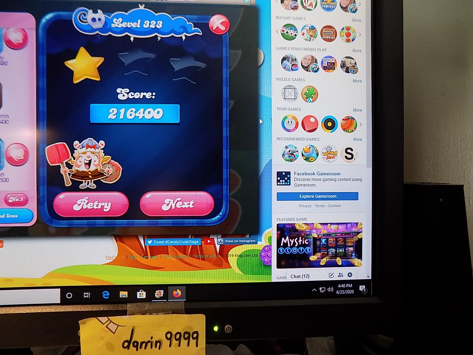 darrin9999: Candy Crush Saga: Level 323 (Web) 216,400 points on 2020-08-02 16:31:26