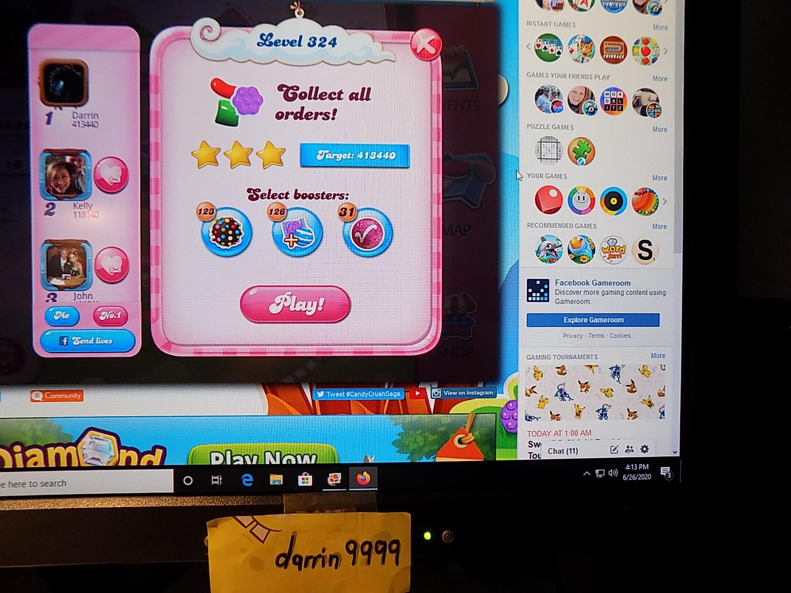 darrin9999: Candy Crush Saga: Level 324 (Web) 413,440 points on 2020-08-02 16:32:52