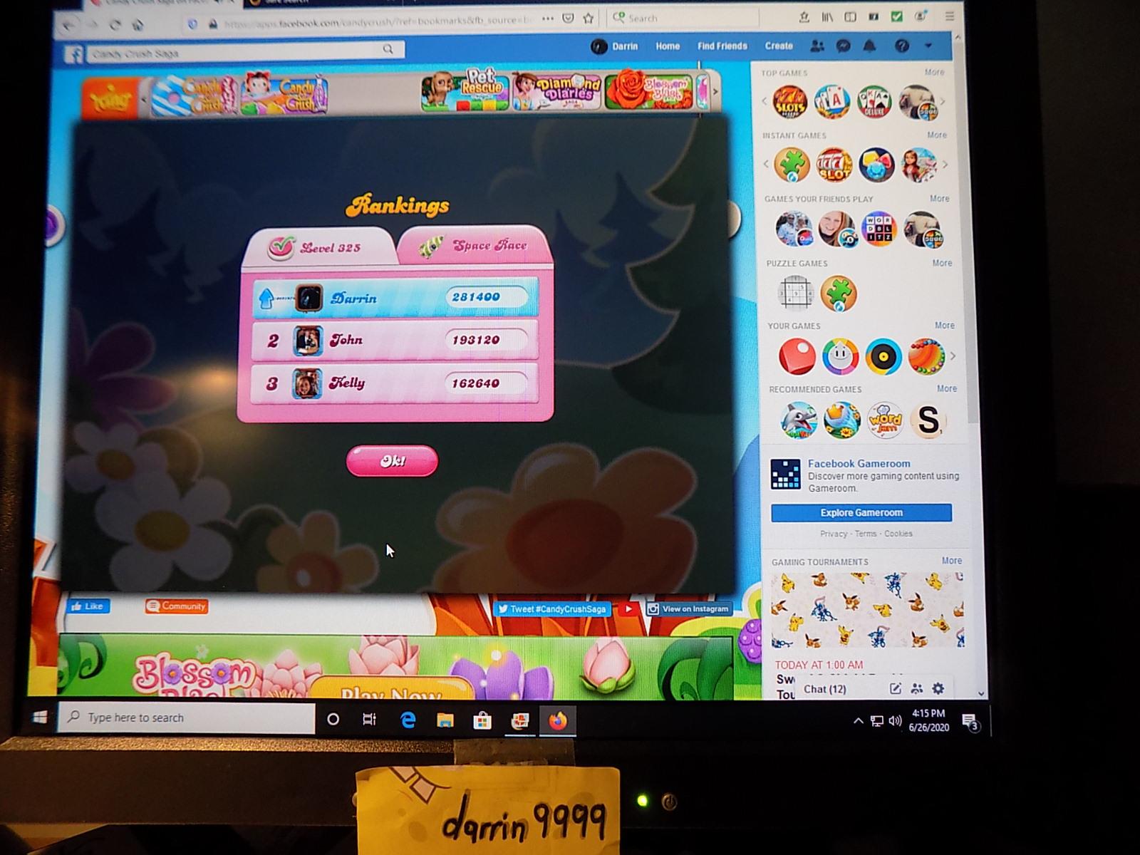 darrin9999: Candy Crush Saga: Level 325 (Web) 281,400 points on 2020-08-02 16:35:13