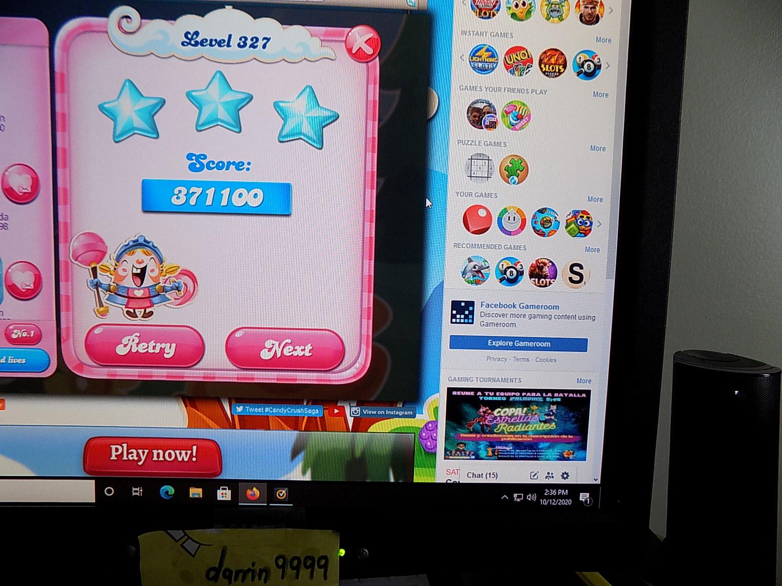 darrin9999: Candy Crush Saga: Level 327 (Web) 371,100 points on 2020-10-12 13:52:41
