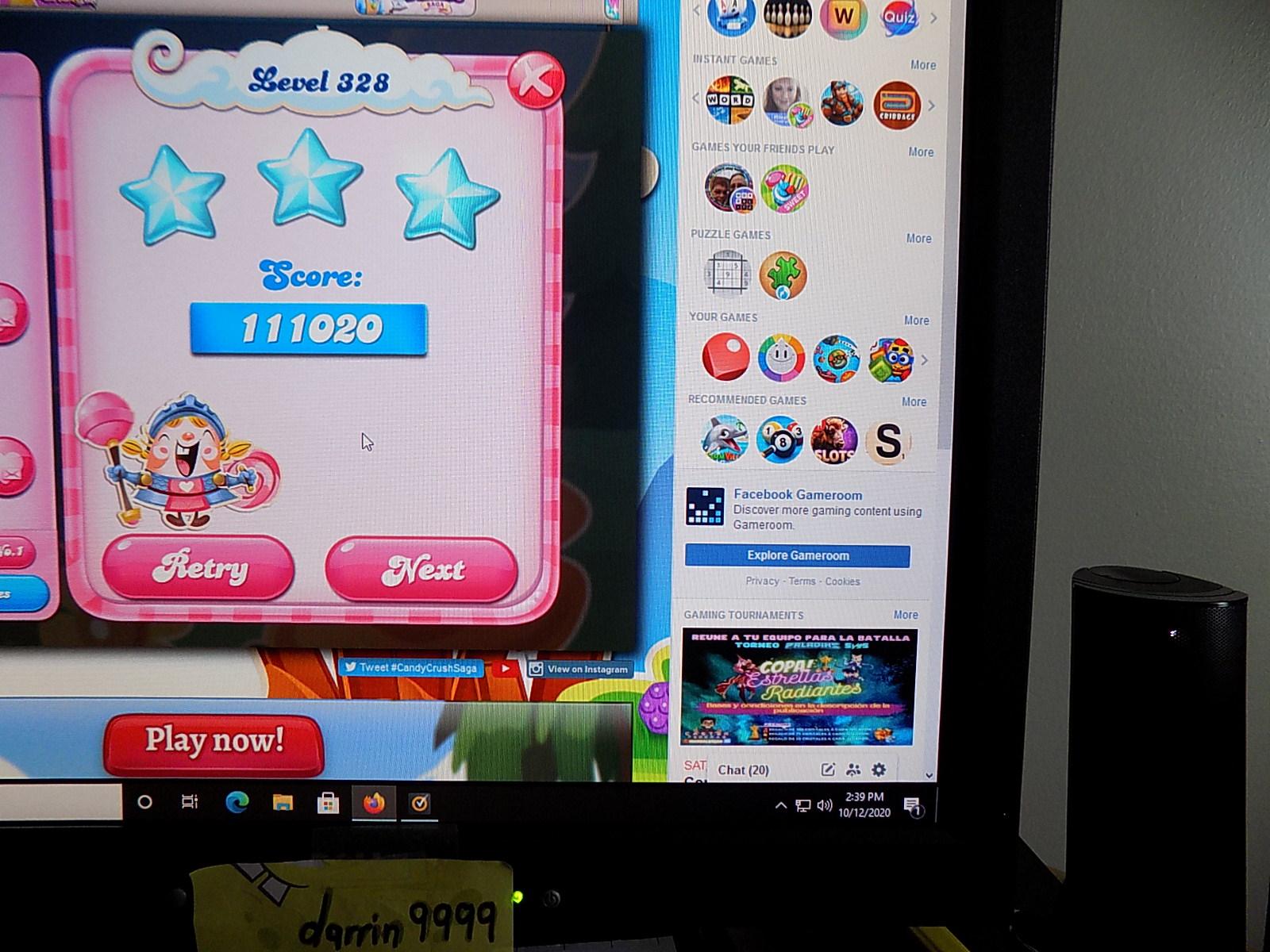 darrin9999: Candy Crush Saga: Level 328 (Web) 111,020 points on 2020-10-12 13:53:44
