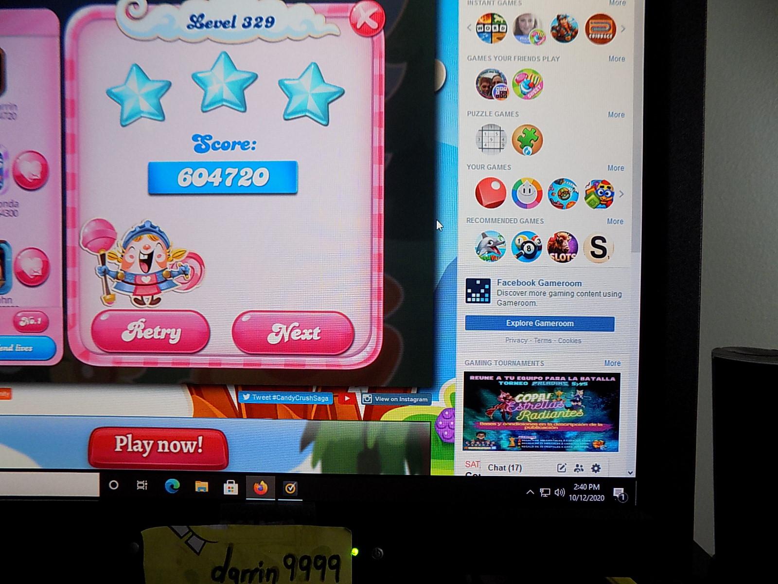 darrin9999: Candy Crush Saga: Level 329 (Web) 604,720 points on 2021-04-29 14:30:46