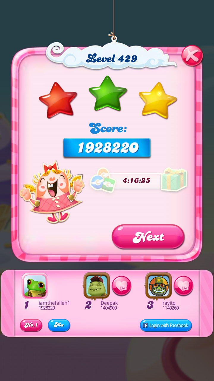 iamthefallen1: Candy Crush Saga: Level 429 (Android) 1,928,220 points on 2018-08-25 20:54:21