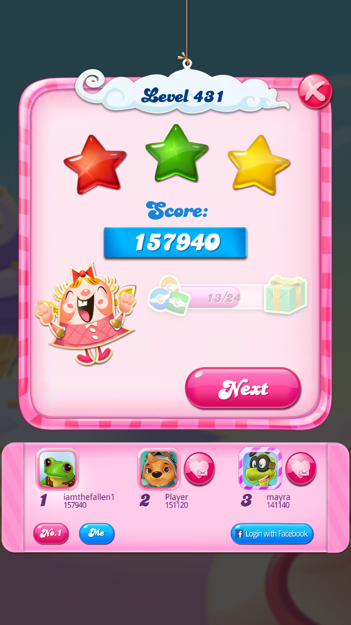 iamthefallen1: Candy Crush Saga: Level 431 (Android) 157,940 points on 2018-08-25 20:58:54