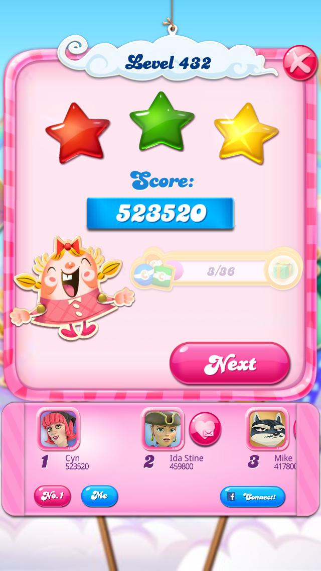 Candy Crush Saga: Level 432 523,520 points