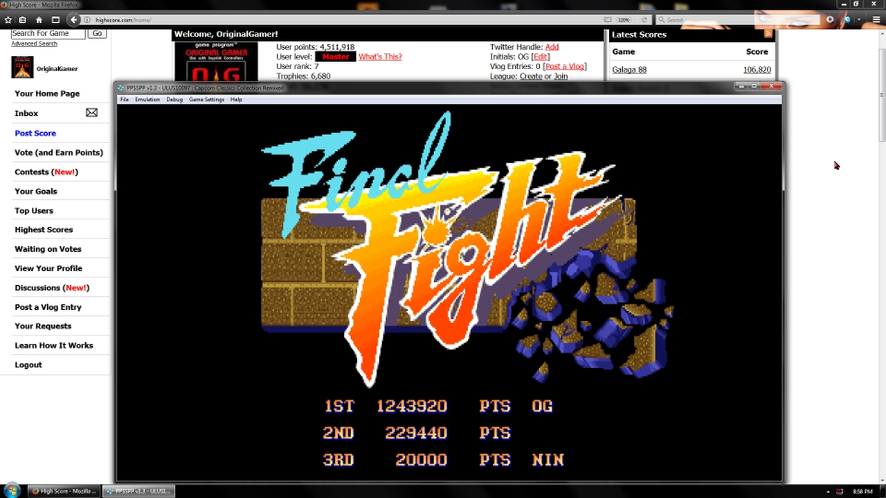 OriginalGamer: Capcom Classics Collection Remixed: Final Fight [Game Settings Normal] (PSP Emulated) 1,243,920 points on 2018-02-03 22:57:20