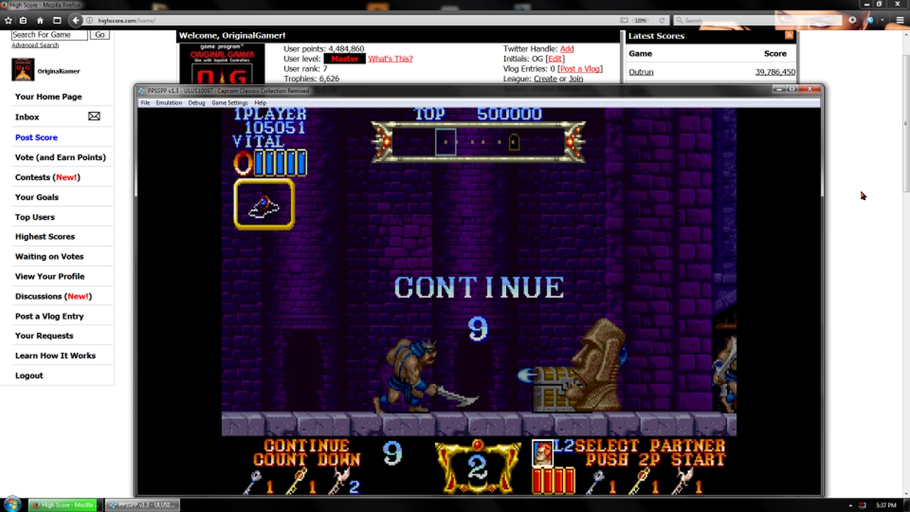 OriginalGamer: Capcom Classics Collection Remixed: Magic Sword [Game Settings Normal] (PSP Emulated) 105,051 points on 2018-01-30 23:42:33