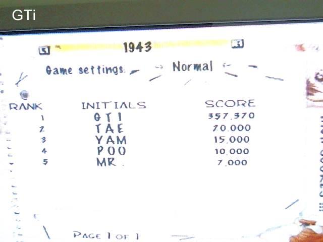 GTibel: Capcom Classics Vol 1: 1943 (Playstation 2) 357,370 points on 2017-09-11 04:56:29