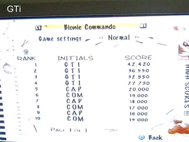 GTibel: Capcom Classics Vol 1: Bionic Commando (Playstation 2) 42,420 points on 2017-09-07 09:59:08