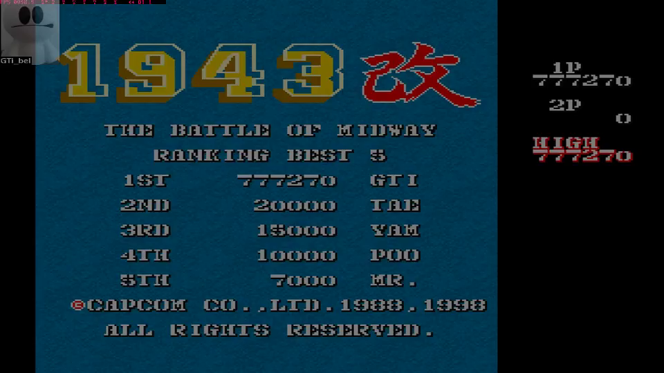 Capcom Generations 1: 1943 Kai 777,270 points