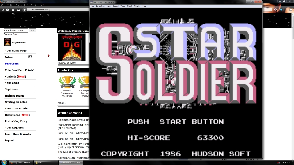 OriginalGamer: Caravan Shooting Collection [Star Soldier] (SNES/Super Famicom Emulated) 63,300 points on 2016-07-10 01:37:58