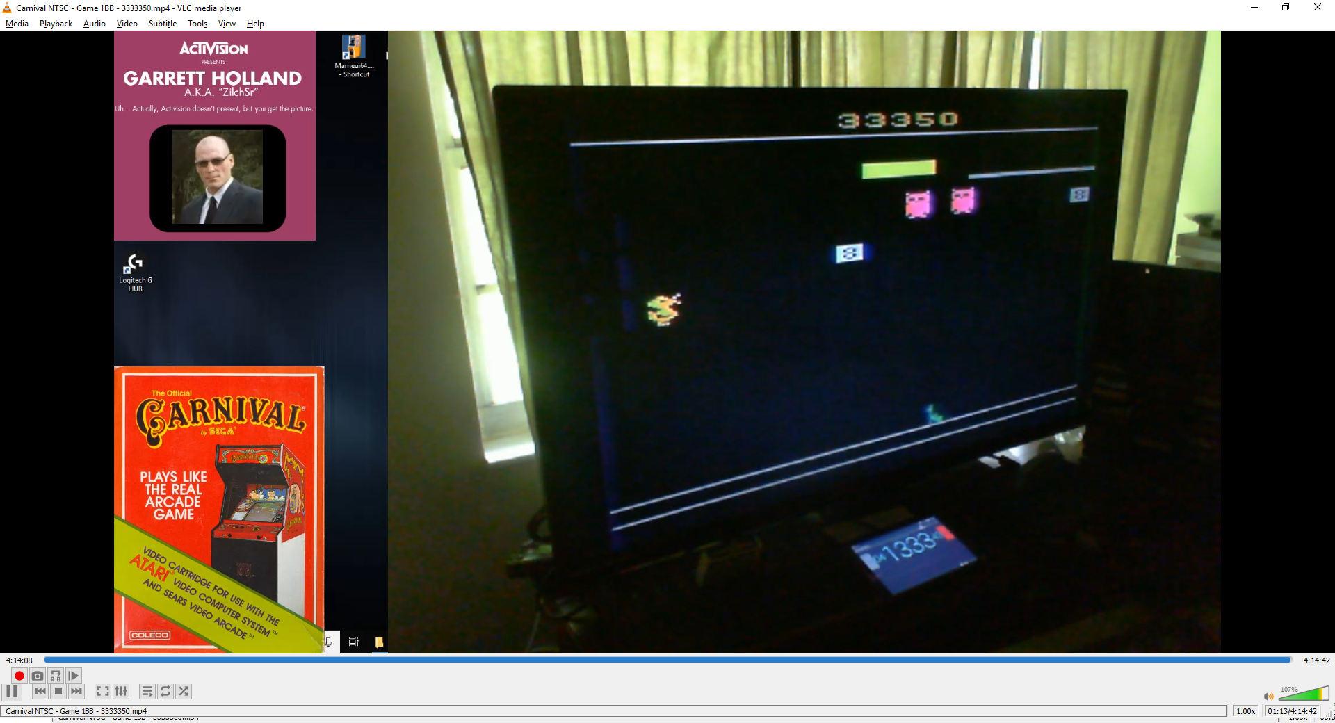 ZilchSr: Carnival (Atari 2600 Novice/B) 3,333,350 points on 2019-08-08 20:48:03