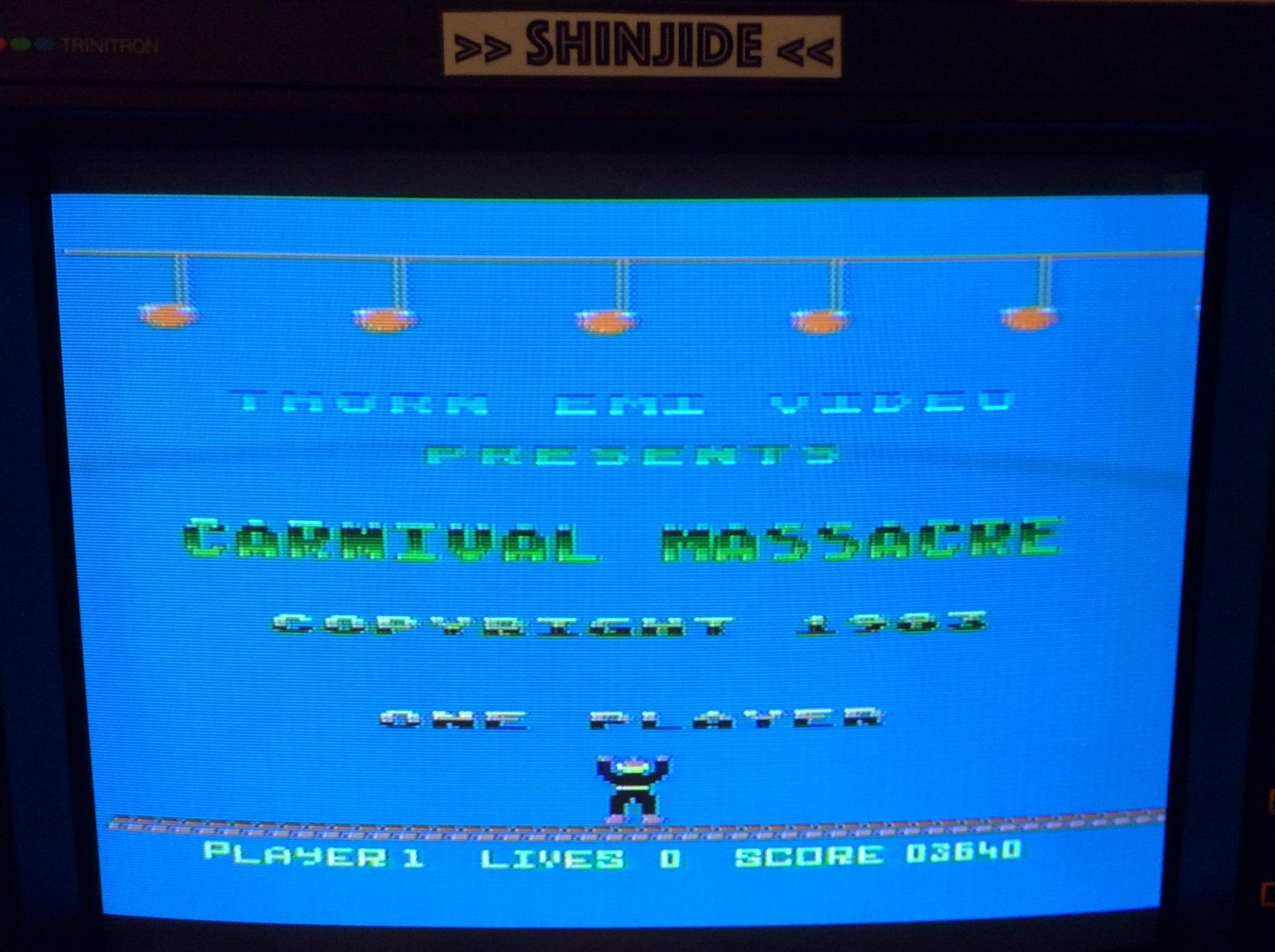 SHiNjide: Carnival Massacre (Atari 400/800/XL/XE) 3,640 points on 2015-11-09 14:30:48