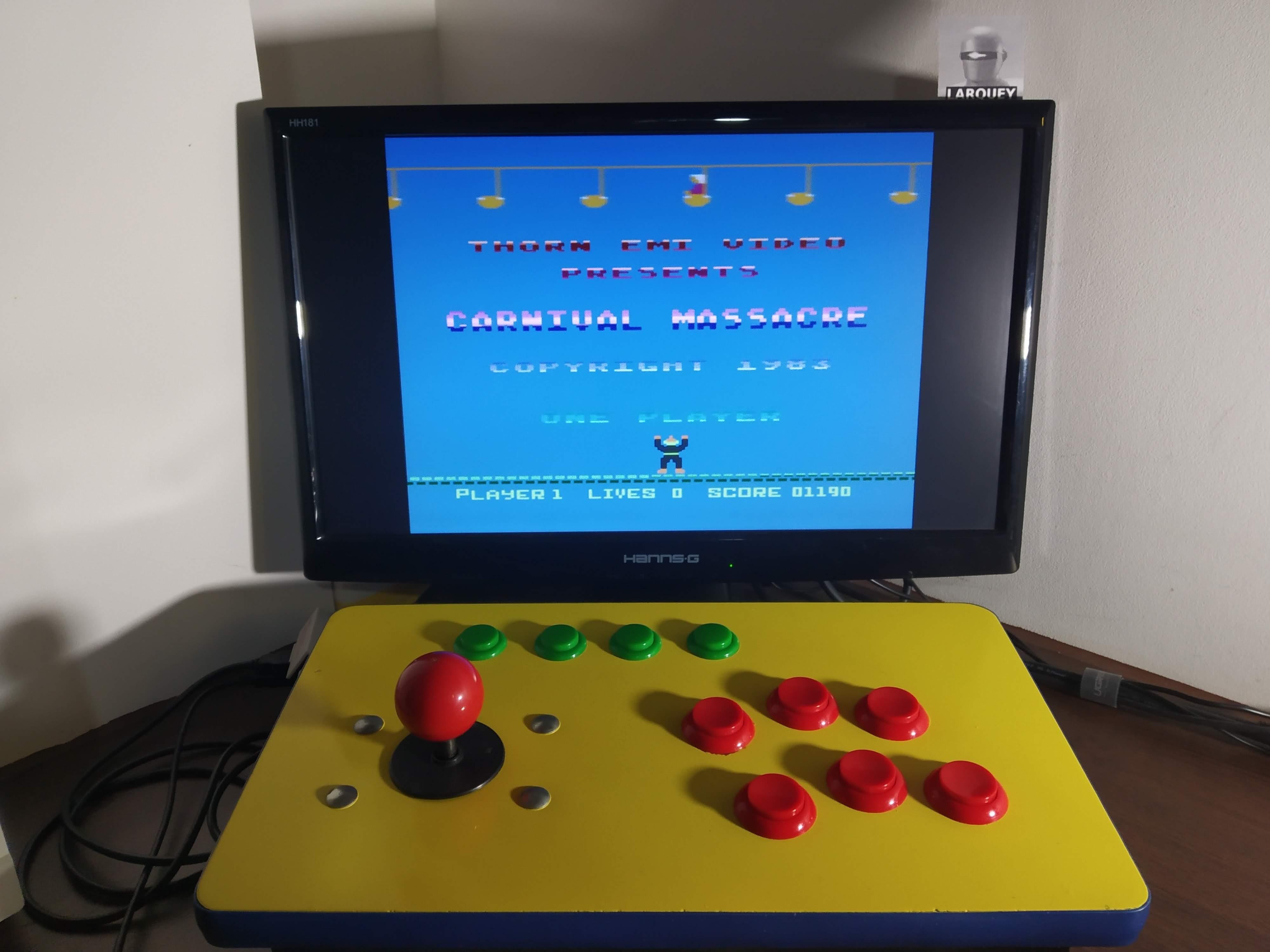 Larquey: Carnival Massacre (Atari 400/800/XL/XE Emulated) 1,190 points on 2020-01-02 08:02:16