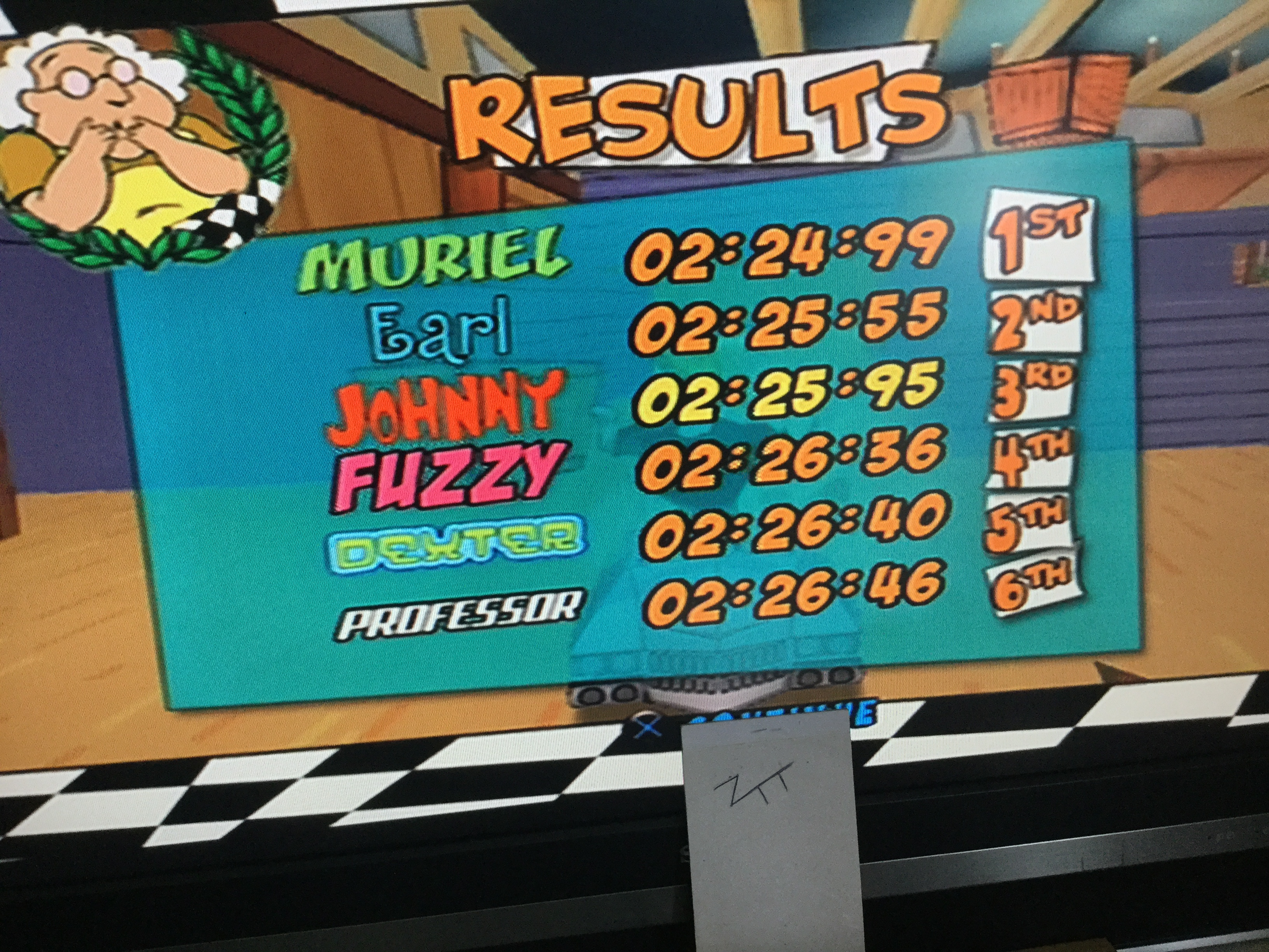 Frankie: Cartoon Network Racing: Quick Race: Cow & Chicken Race 1 [3 Laps] (Playstation 2) 0:02:25.95 points on 2019-08-18 04:18:14