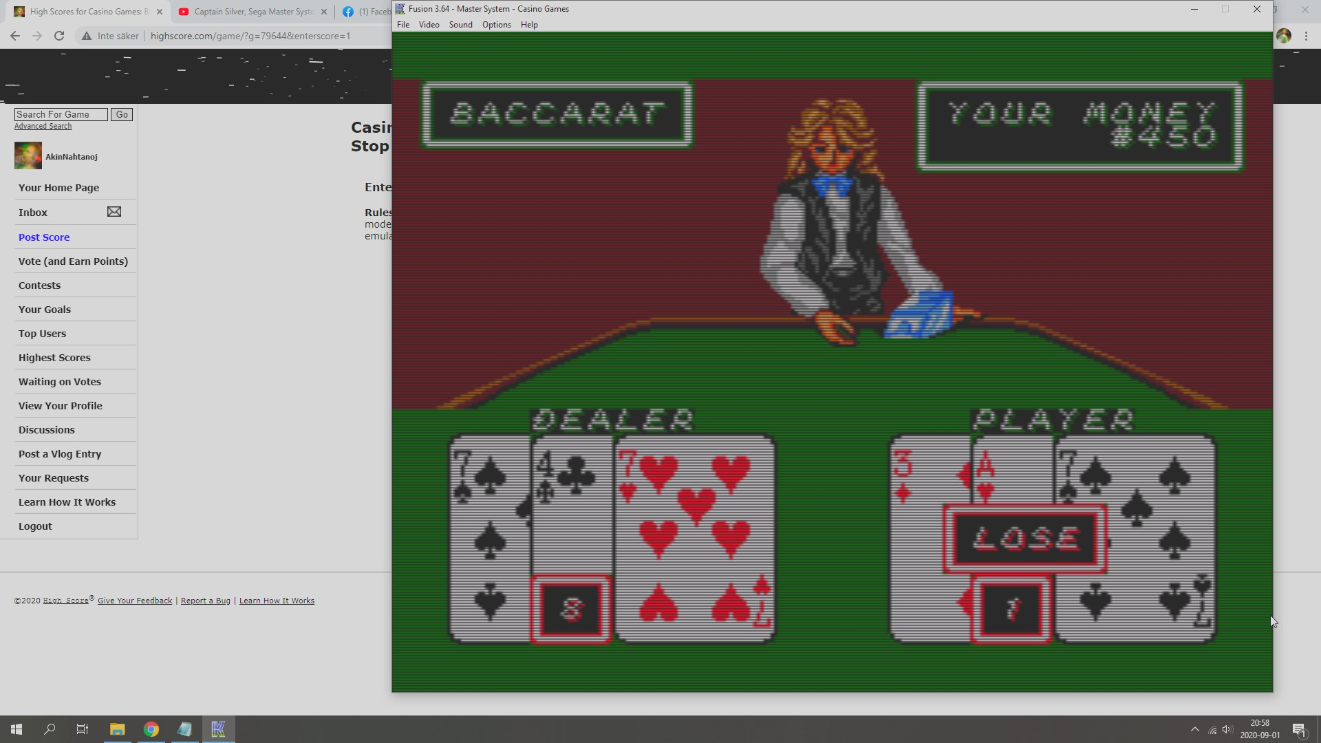 Casino Games: Baccarat [Dollars Whenever You Stop Playing] 450 points