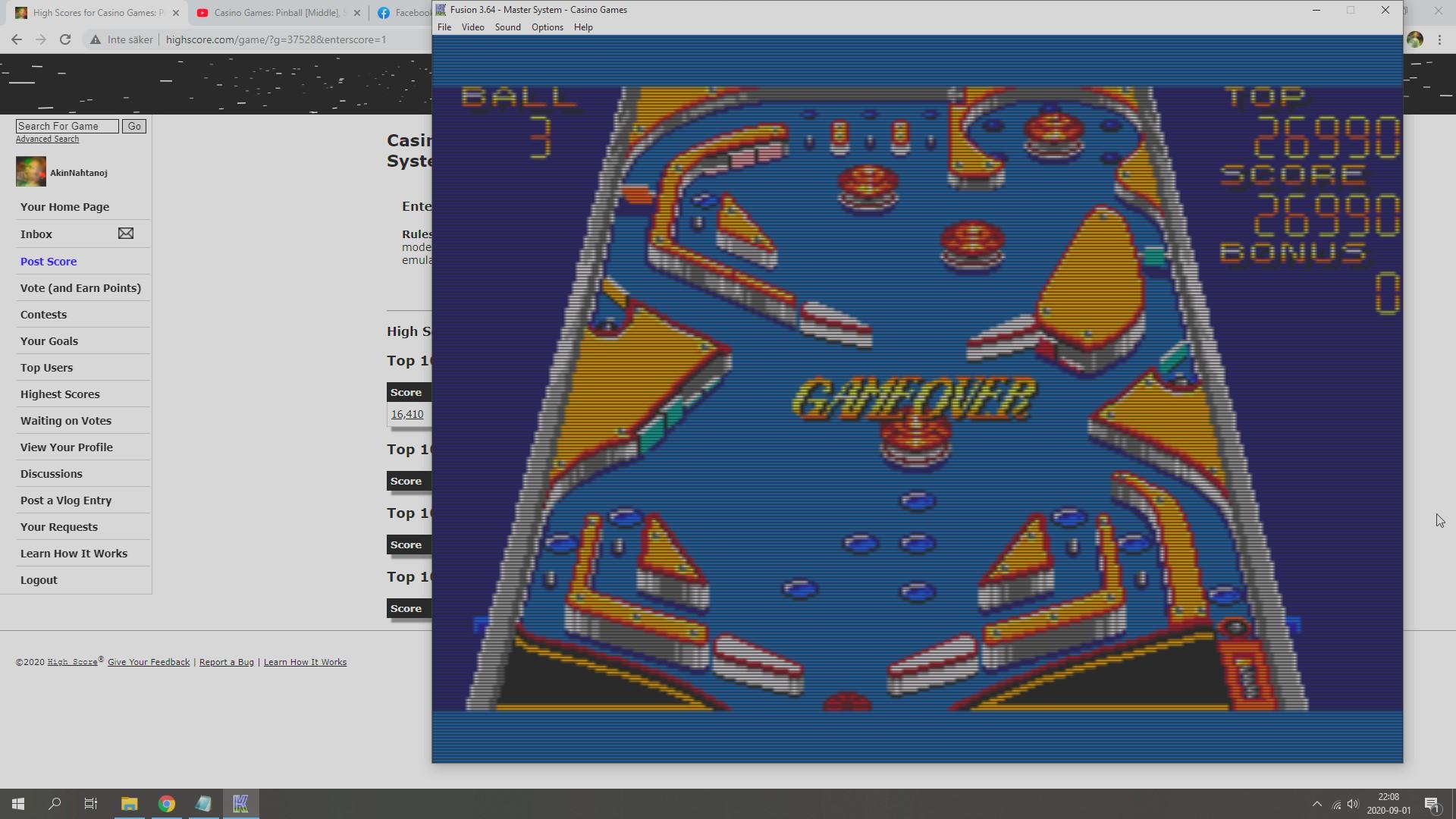 AkinNahtanoj: Casino Games: Pinball [Steep] (Sega Master System Emulated) 26,990 points on 2020-09-01 15:35:01