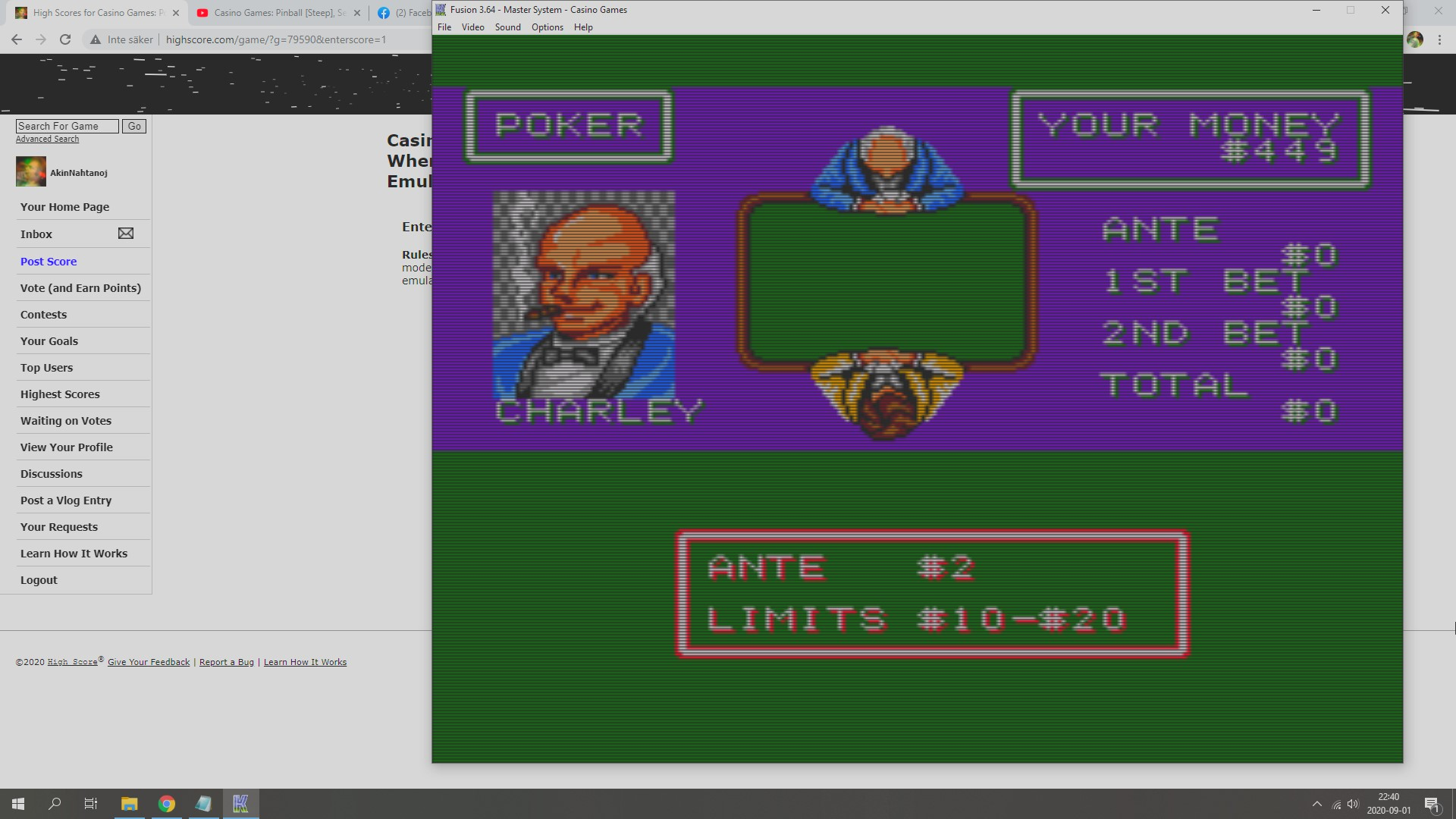 AkinNahtanoj: Casino Games: Poker [Opponent Charley] [Dollars Whenever You Stop Playing] (Sega Master System Emulated) 449 points on 2020-09-01 15:47:50