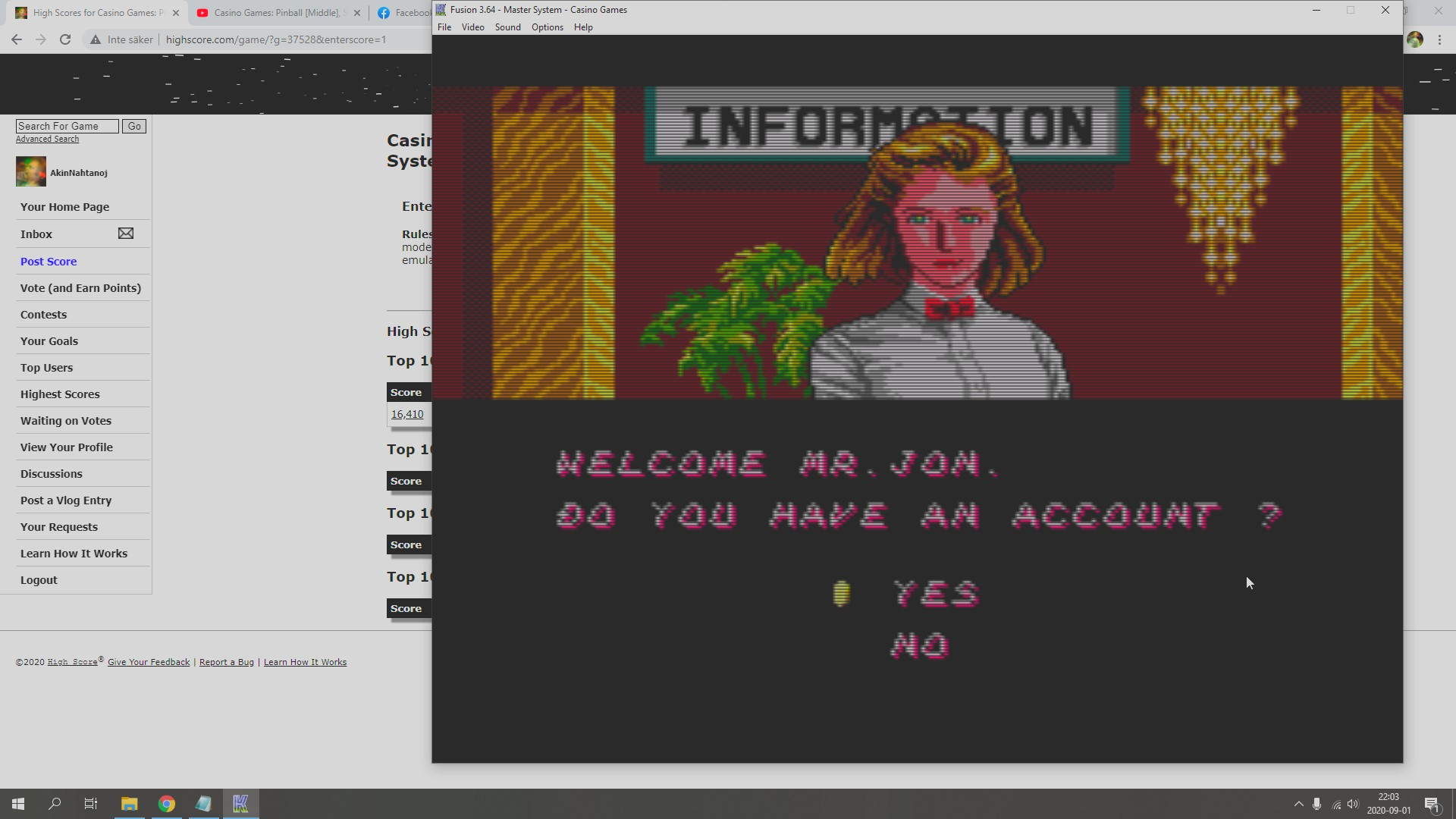 AkinNahtanoj: Casino Games: Poker [Opponent Dick] [Dollars Whenever You Stop Playing] (Sega Master System Emulated) 805 points on 2020-09-01 15:57:29