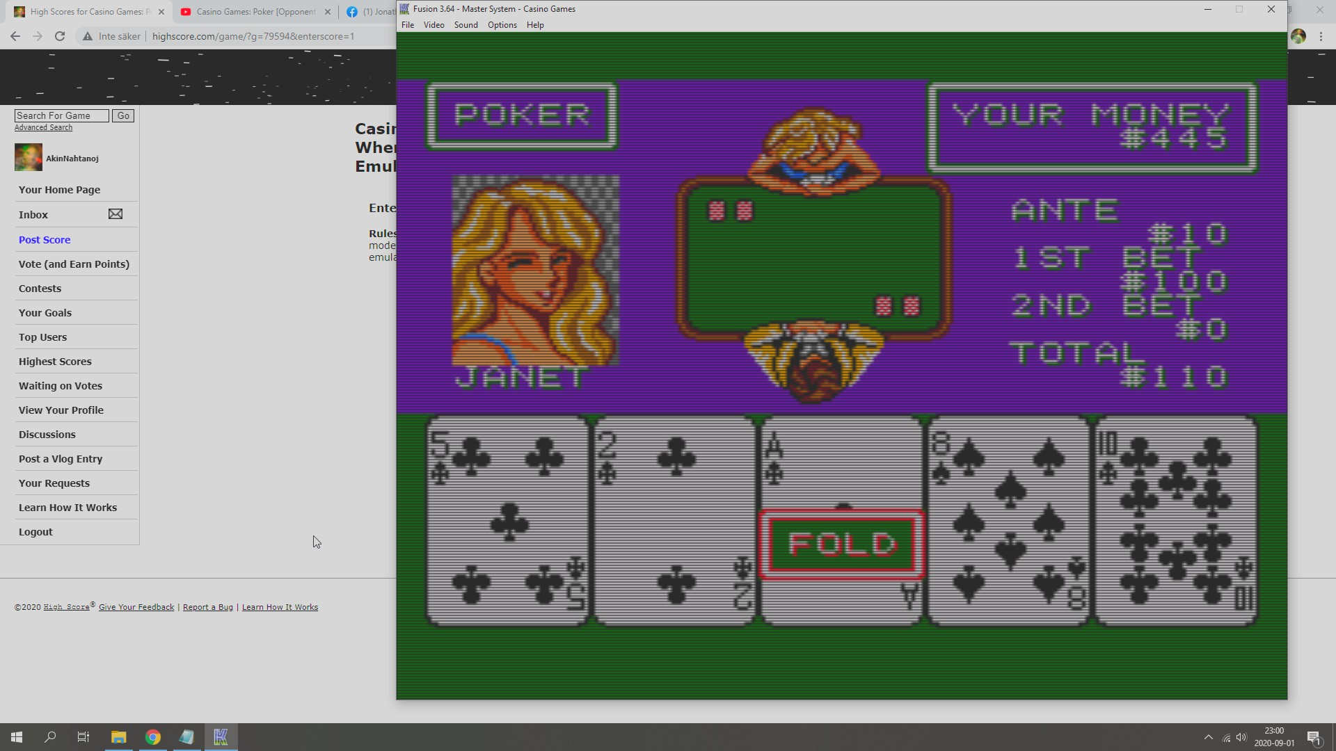 Casino Games: Poker [Opponent Janet] [Dollars Whenever You Stop Playing] 445 points